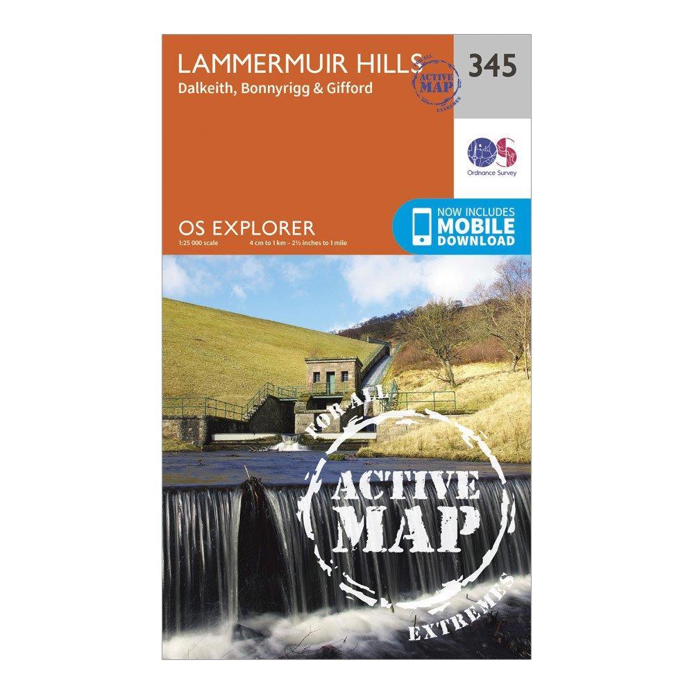 Ordnance Survey Explorer Active 345 Lammermuir Hills Map With Digital Version - Orange/d  Orange/d