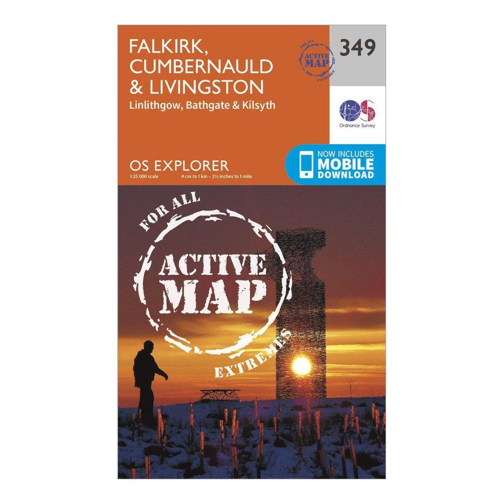 Ordnance Survey Explorer Active 349 Falkirk  CumbernauldandLivingston Map With Digital Version - Orange/d  Orange/d