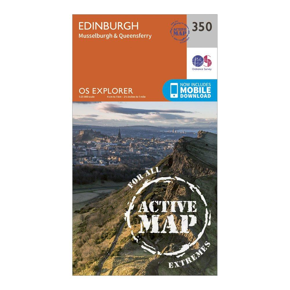 Ordnance Survey Explorer Active 350 Edinburgh Map With Digital Version - Orange/d  Orange/d