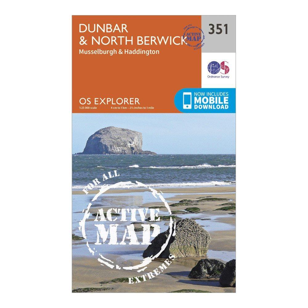 Ordnance Survey Explorer Active 351 DunbarandNorth Berwick Map With Digital Version - Orange/d  Orange/d