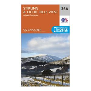 ORDNANCE SURVEY Explorer 366 Stirling & Ochil Hills Map With Digital Version