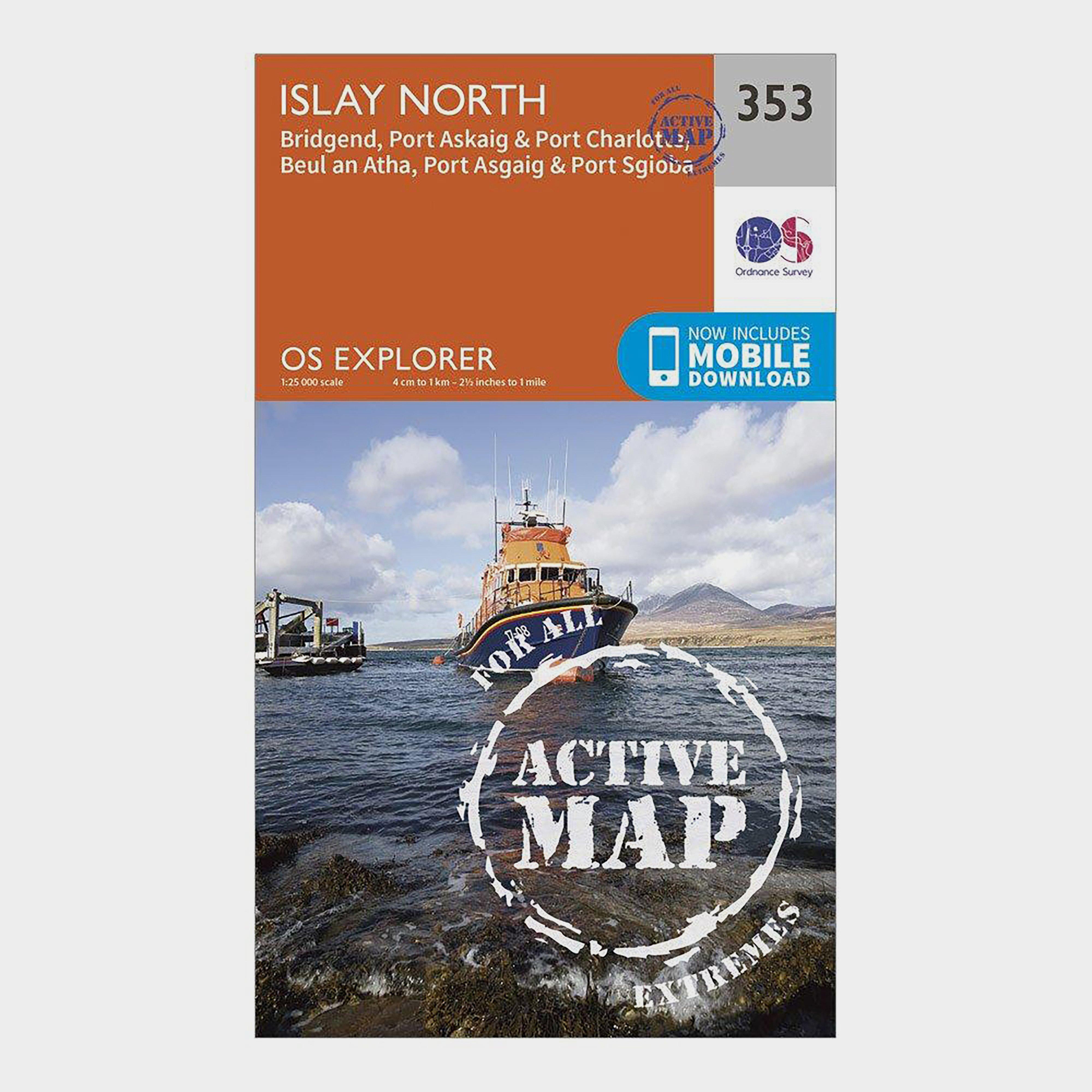 Ordnance Survey Explorer Active 353 Islay North Map With Digital Version - Orange/d  Orange/d