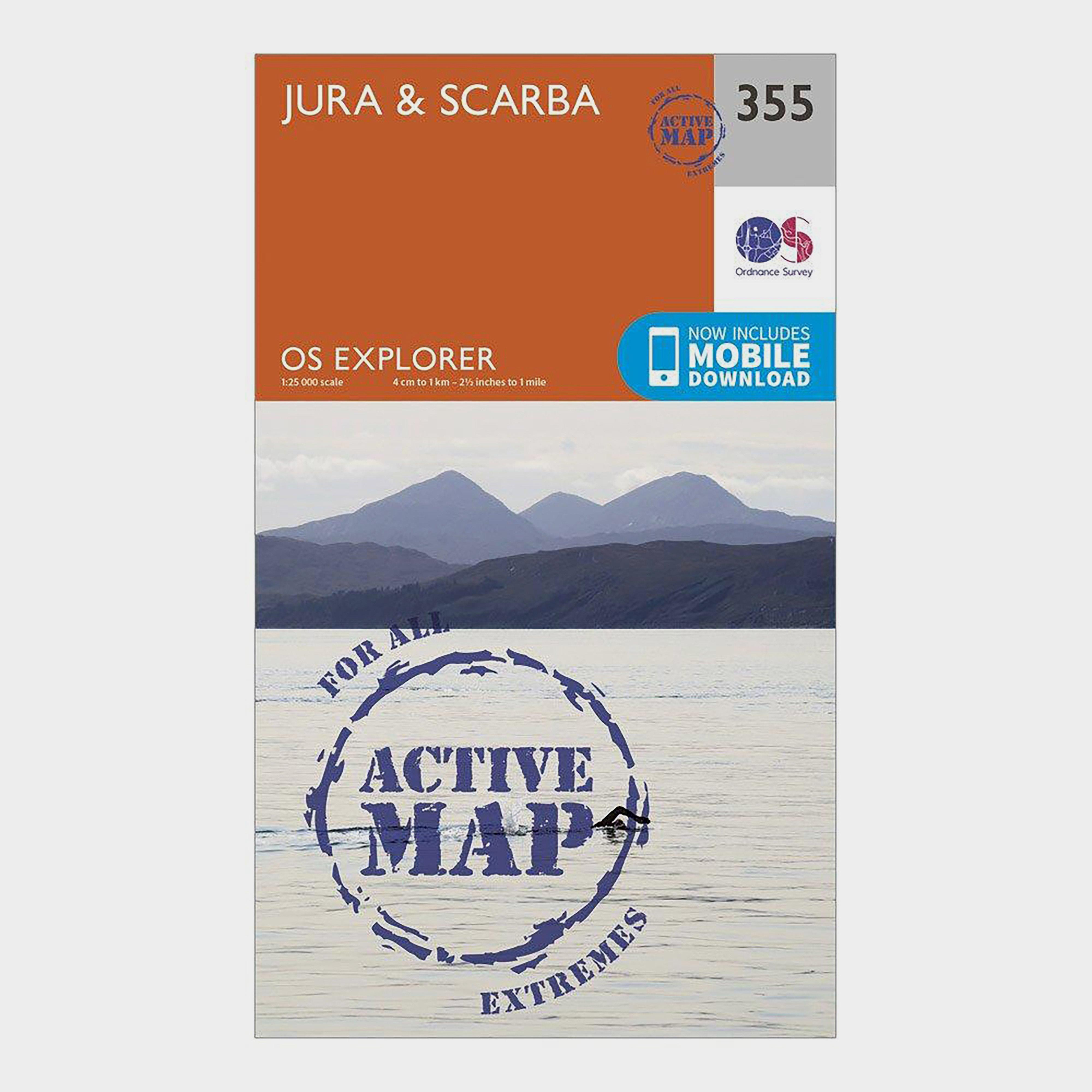Ordnance Survey Explorer Active 355 JuraandScarba Map With Digital Version - Orange/d  Orange/d