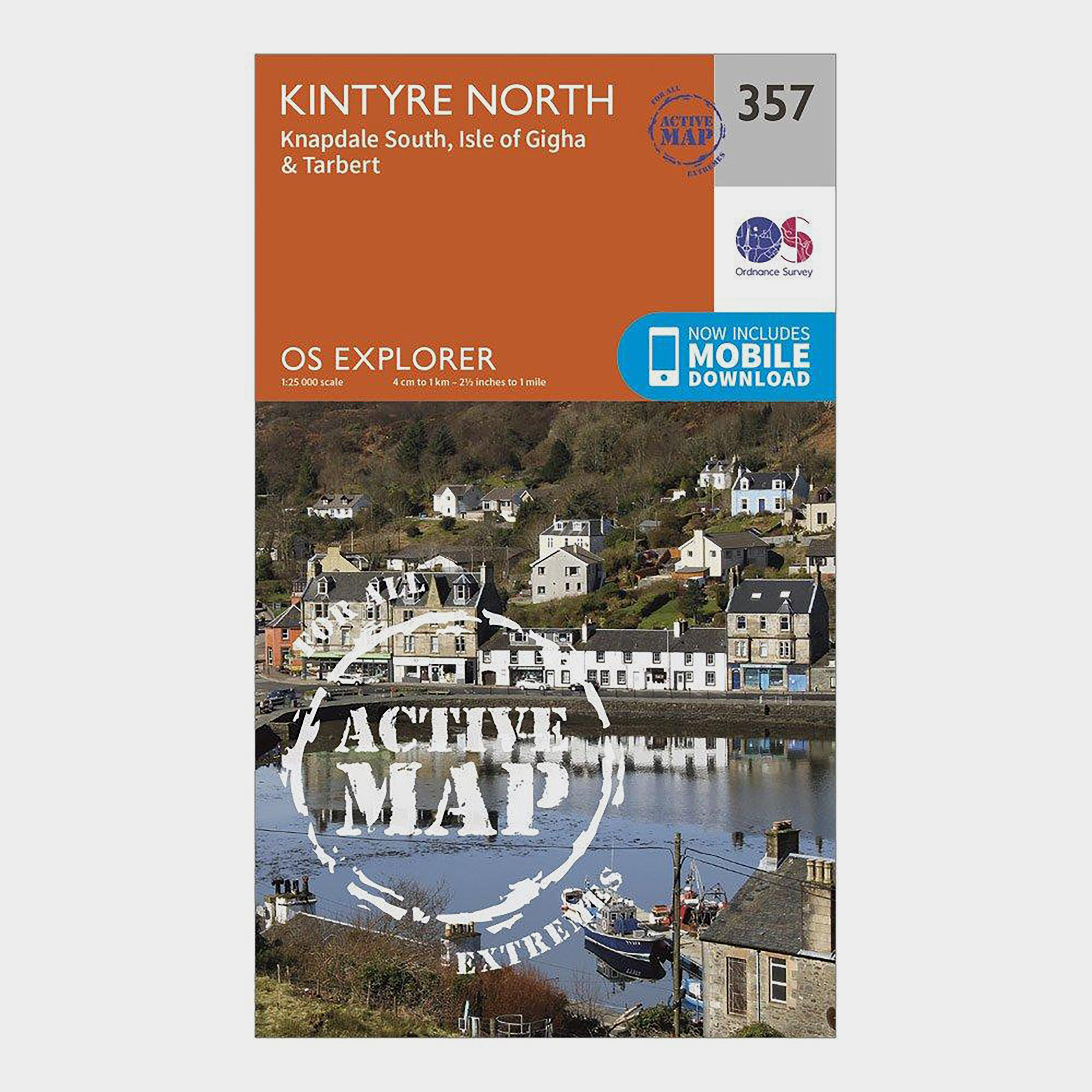 Ordnance Survey Explorer Active 357 Kintyre North Map With Digital Version - Orange/d  Orange/d