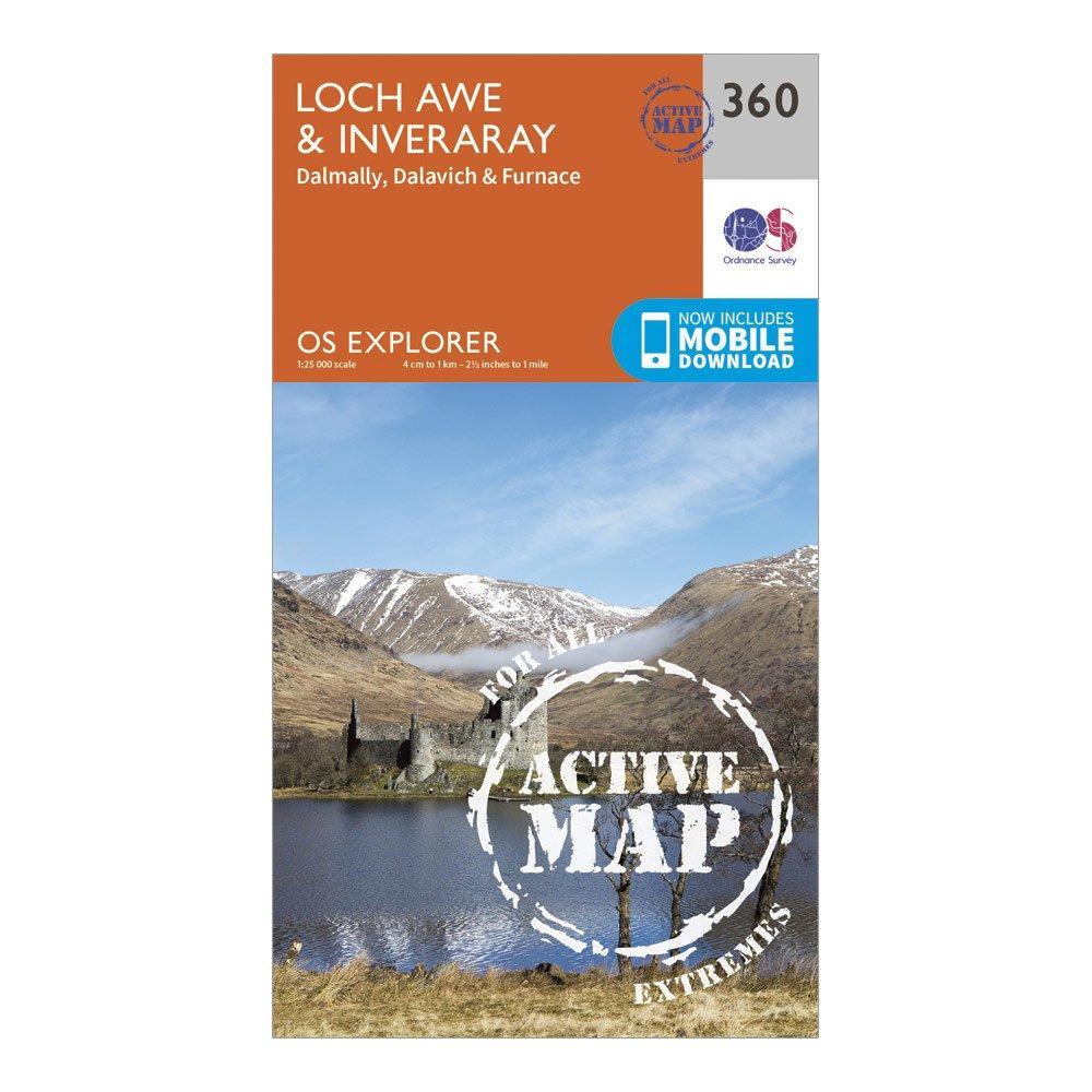 Ordnance Survey Explorer Active 360 Loch AweandInveraray Map With Digital Version - Orange/d  Orange/d