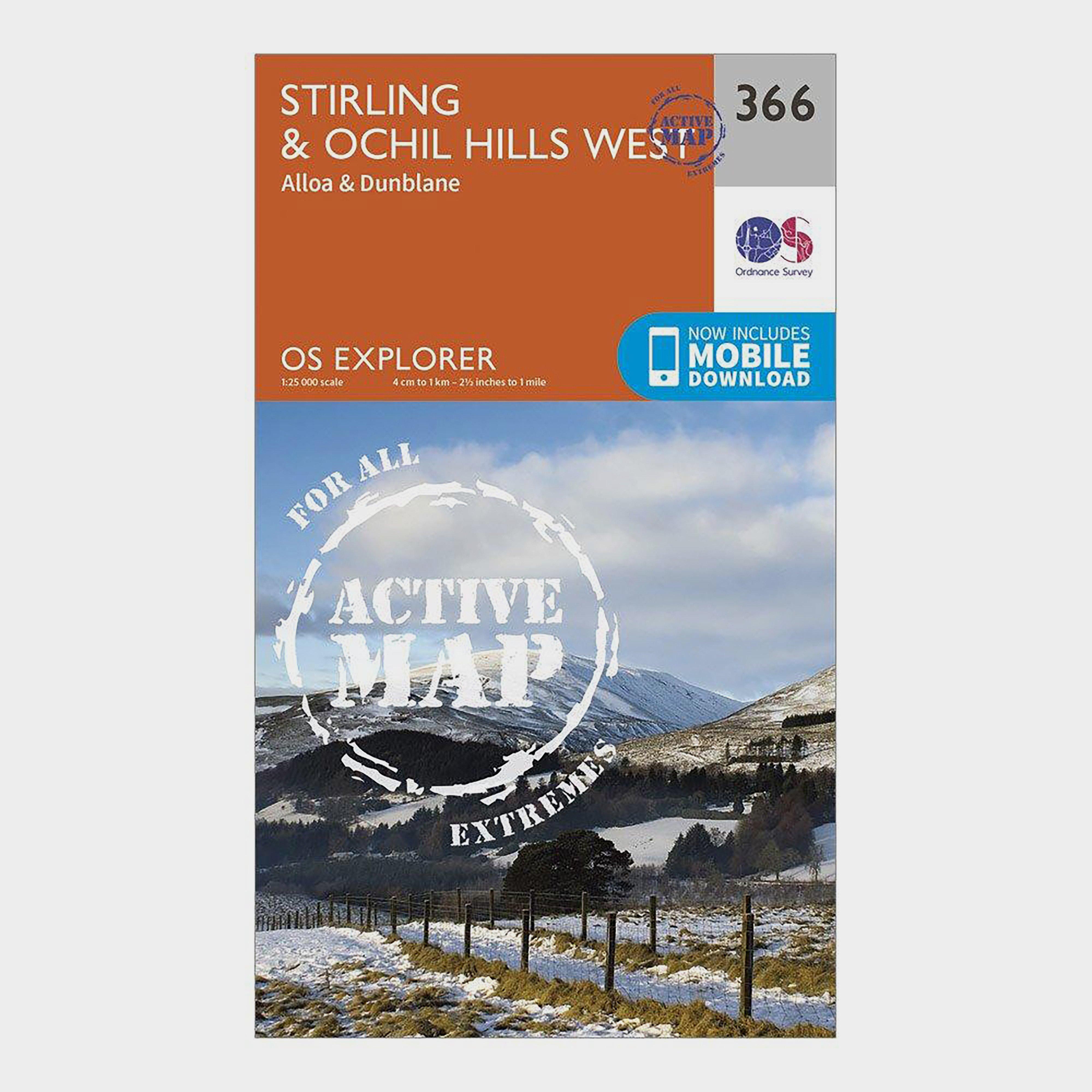 Ordnance Survey Explorer Active 366 StirlingandOchil Hills West Map With Digital Version - Orange/d  Orange/d