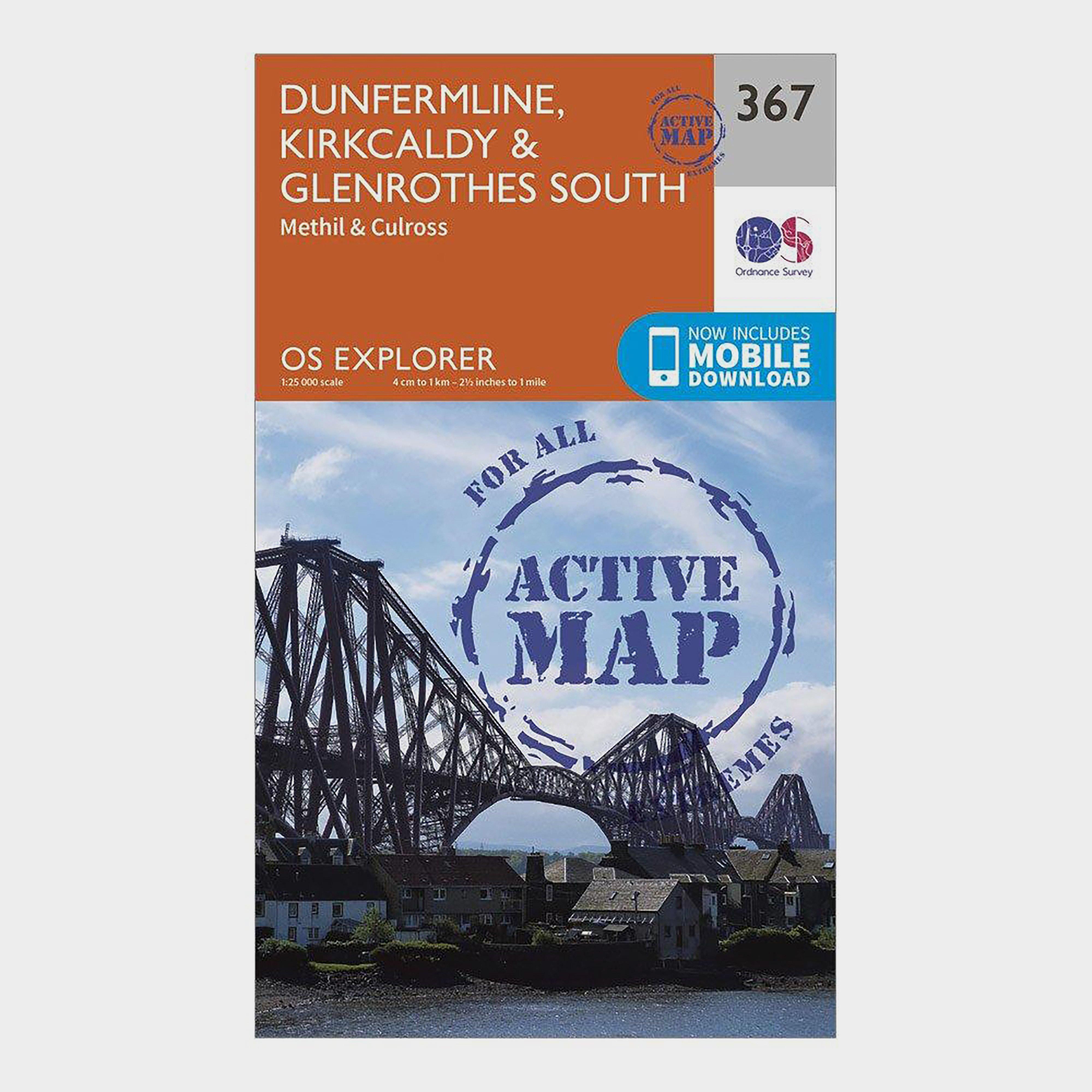 Ordnance Survey Explorer Active 367 Dunfermline  KirkcaldyandGlenrothes South Map With Digital Version - Orange/d  Orange/d