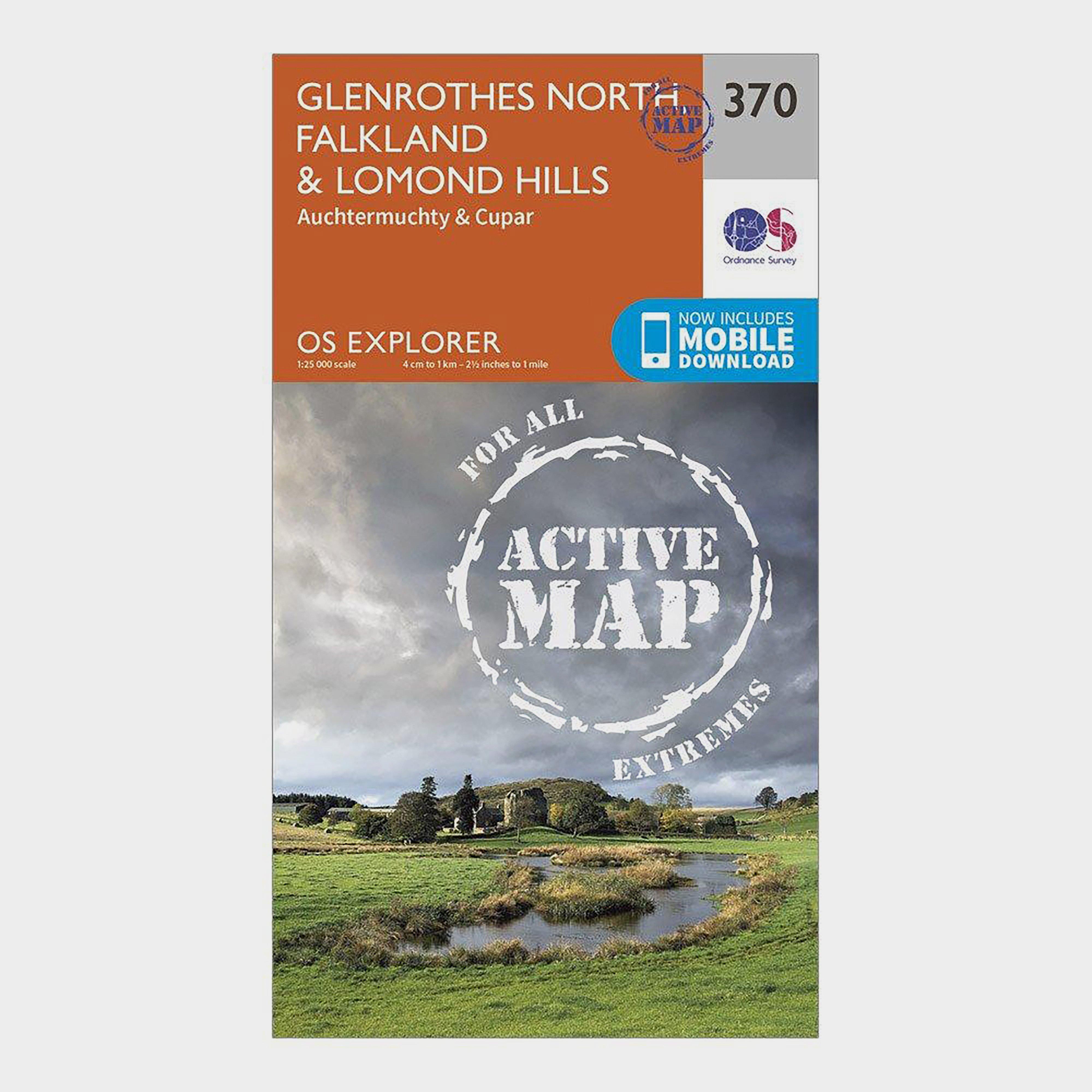 Ordnance Survey Explorer Active 370 Glenrothes North  FalklandandLomond Hills Map With Digital Version - Orange/d  Orange/d