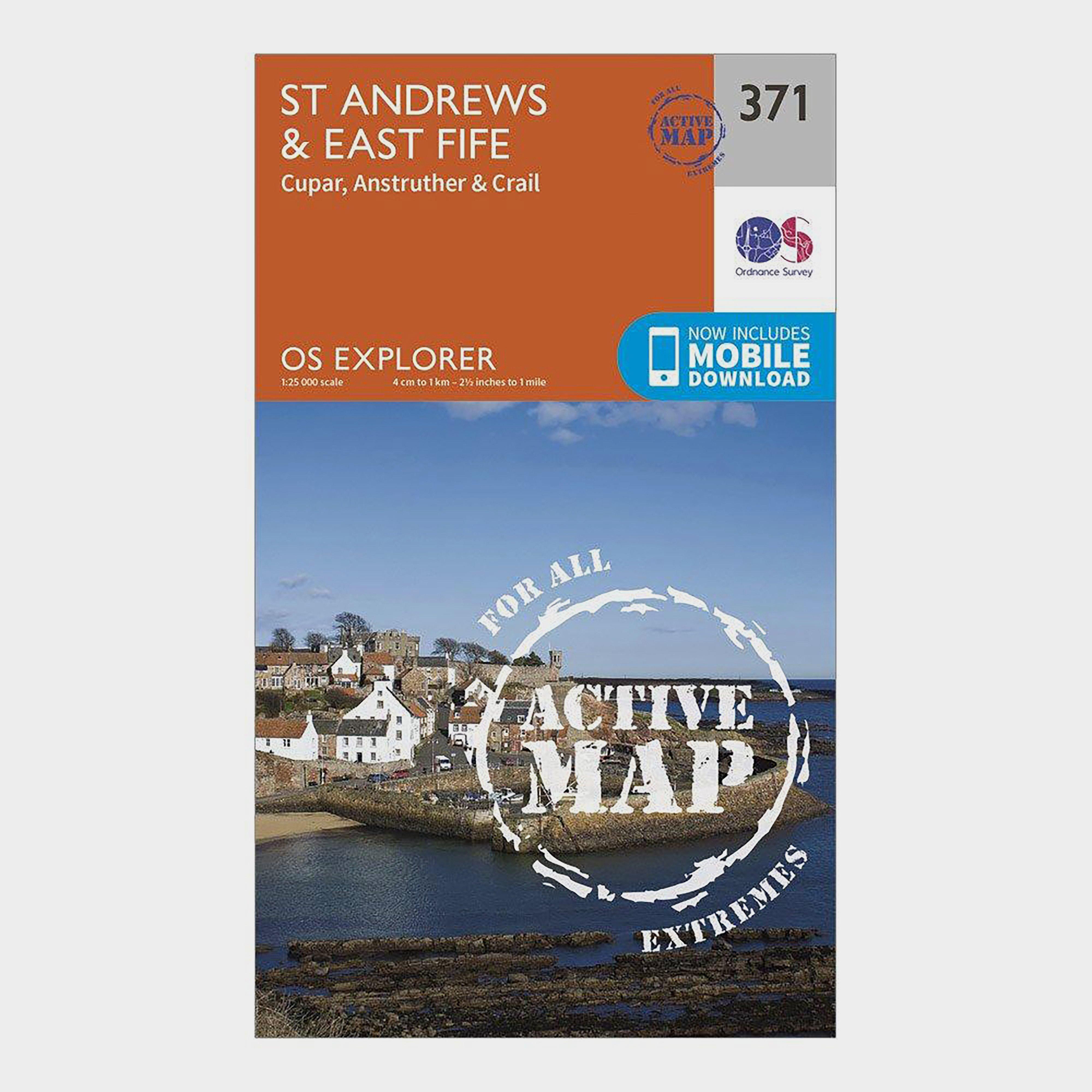 Ordnance Survey Explorer Active 371 St AndrewsandEast Fife Map With Digital Version - Orange/d  Orange/d