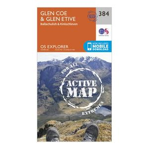 ORDNANCE SURVEY Explorer Active 384 Glen Coe & Glen Etive Map With Digital Version