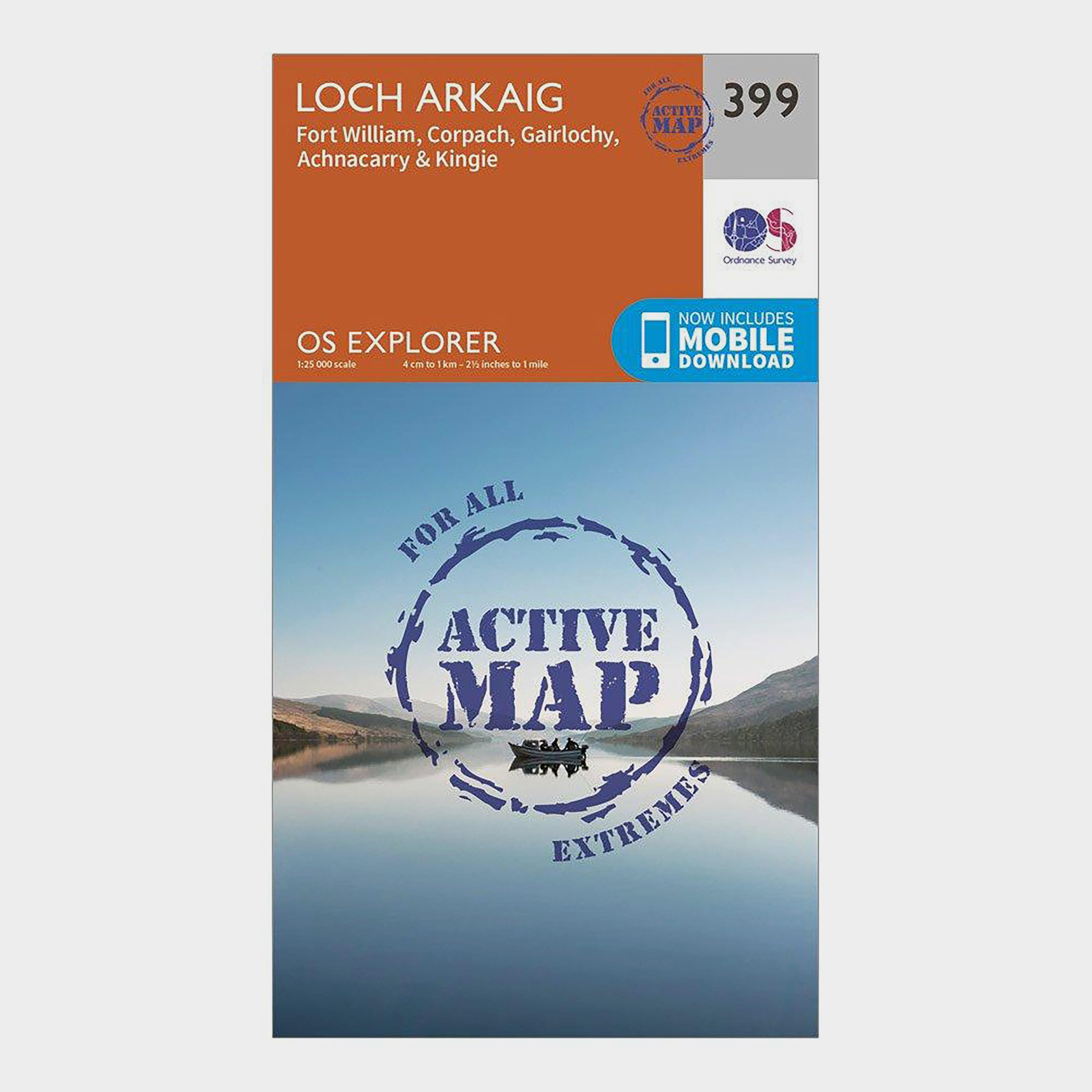 Ordnance Survey Explorer Active 399 Loch Arkaig Map With Digital Version - Orange/d  Orange/d