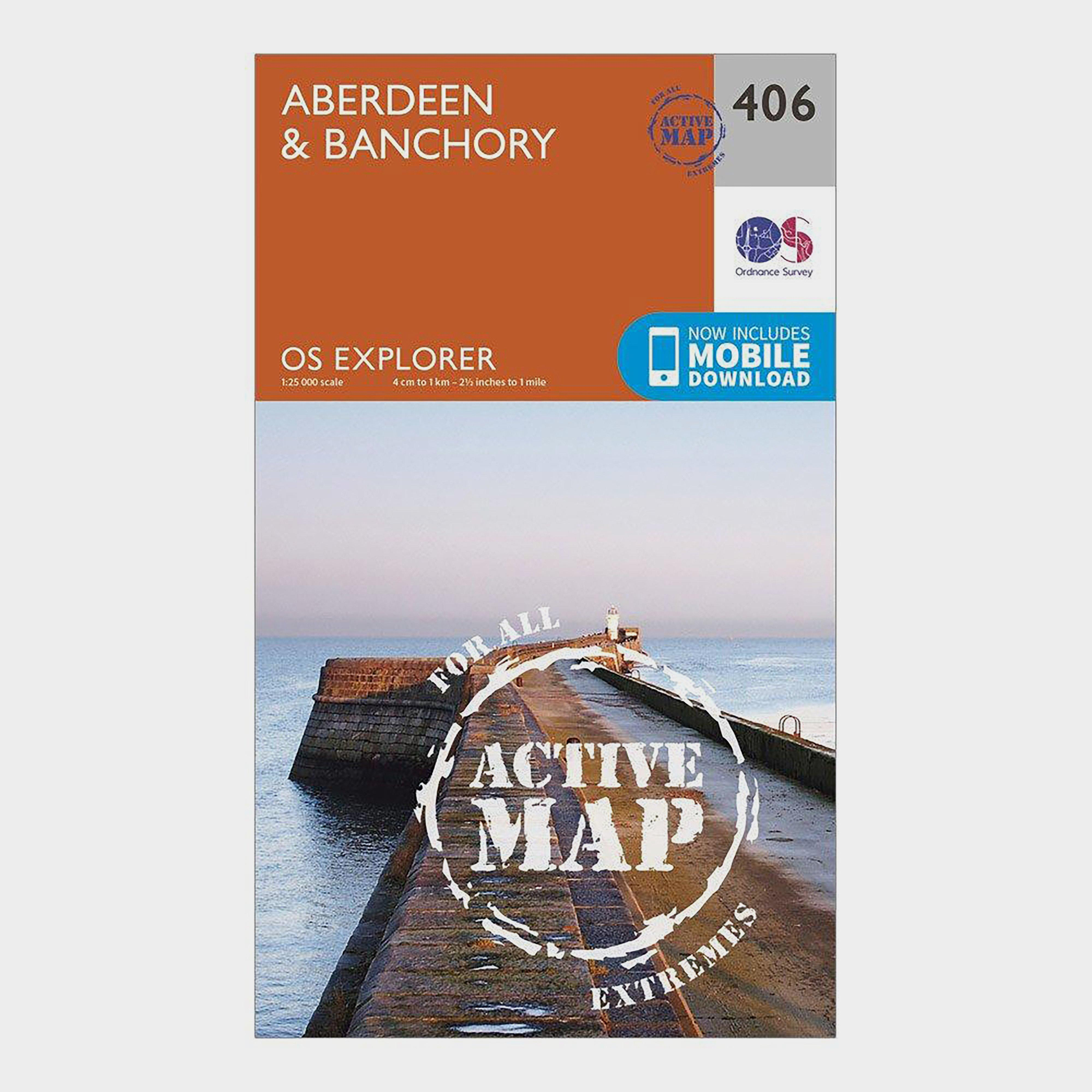 Ordnance Survey Explorer Active 406 AberdeenandBanchory Map With Digital Version - Orange/d  Orange/d