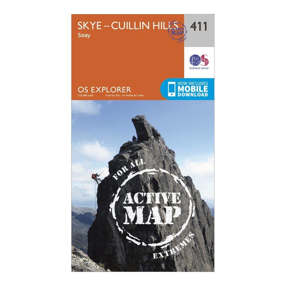 Ordnance Survey Explorer Active 411 Skye   Cuillin Hills Map With Digital Version - Orange/d  Orange/d