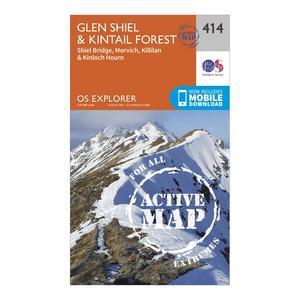 ORDNANCE SURVEY Explorer Active 414 Glan Shiel & Kintail Forest Map With Digital Version