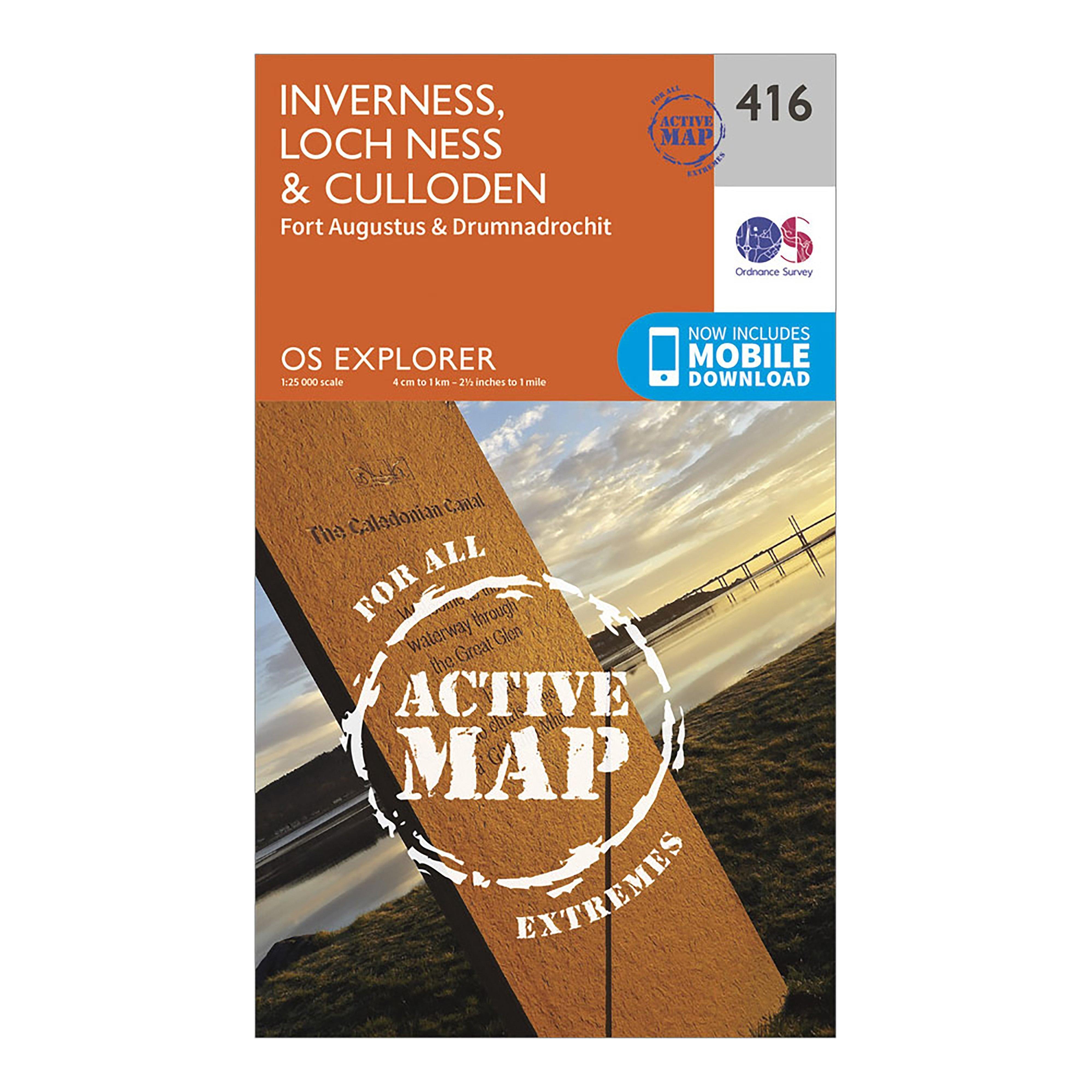 Ordnance Survey Explorer Active 416 Inverness  Loch NessandCulloden Map With Digital Version - Orange/d  Orange/d