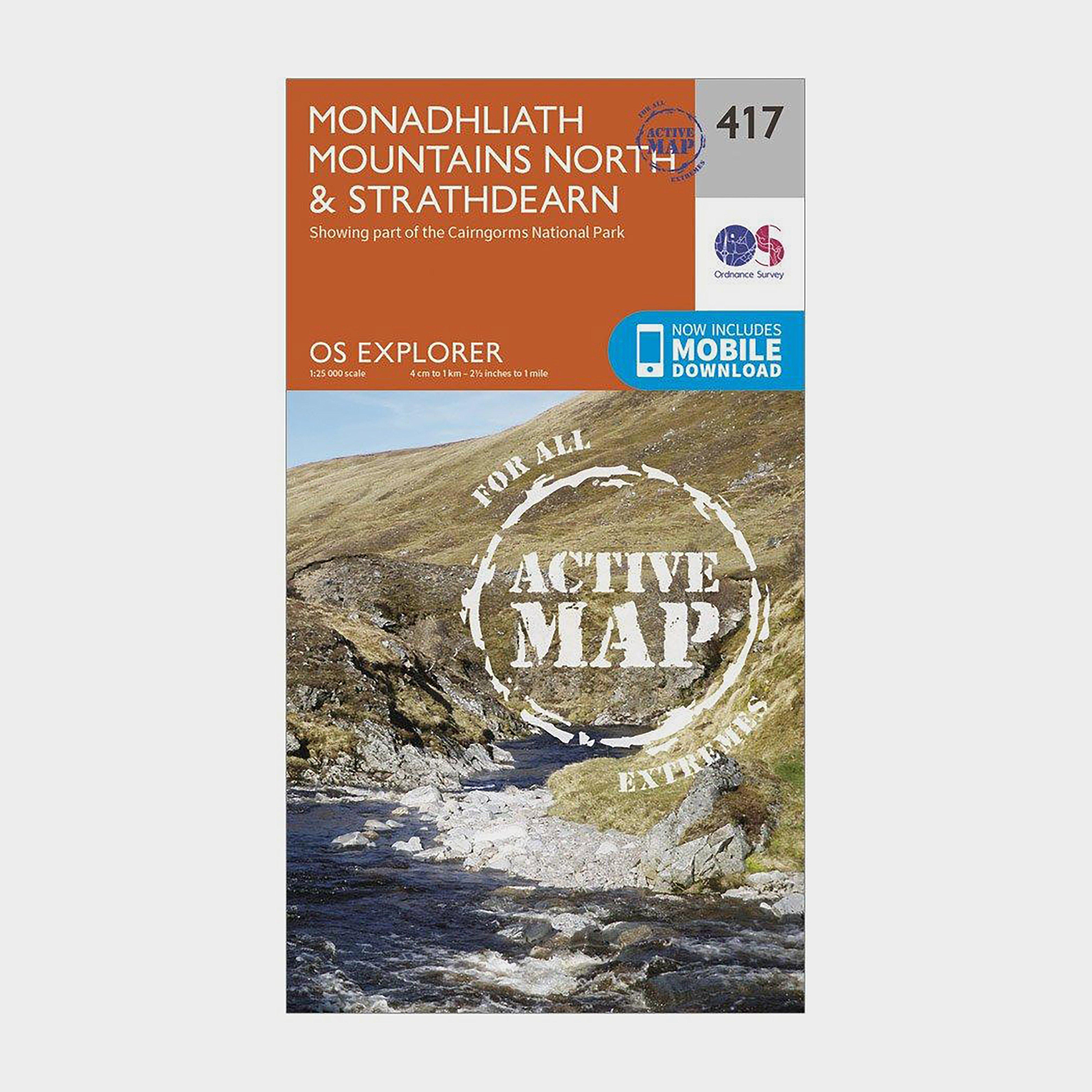 Ordnance Survey Explorer Active 417 Monadhliath Mountains NorthandStrathdearn Map With Digital Version - Orange/d  Orange/d