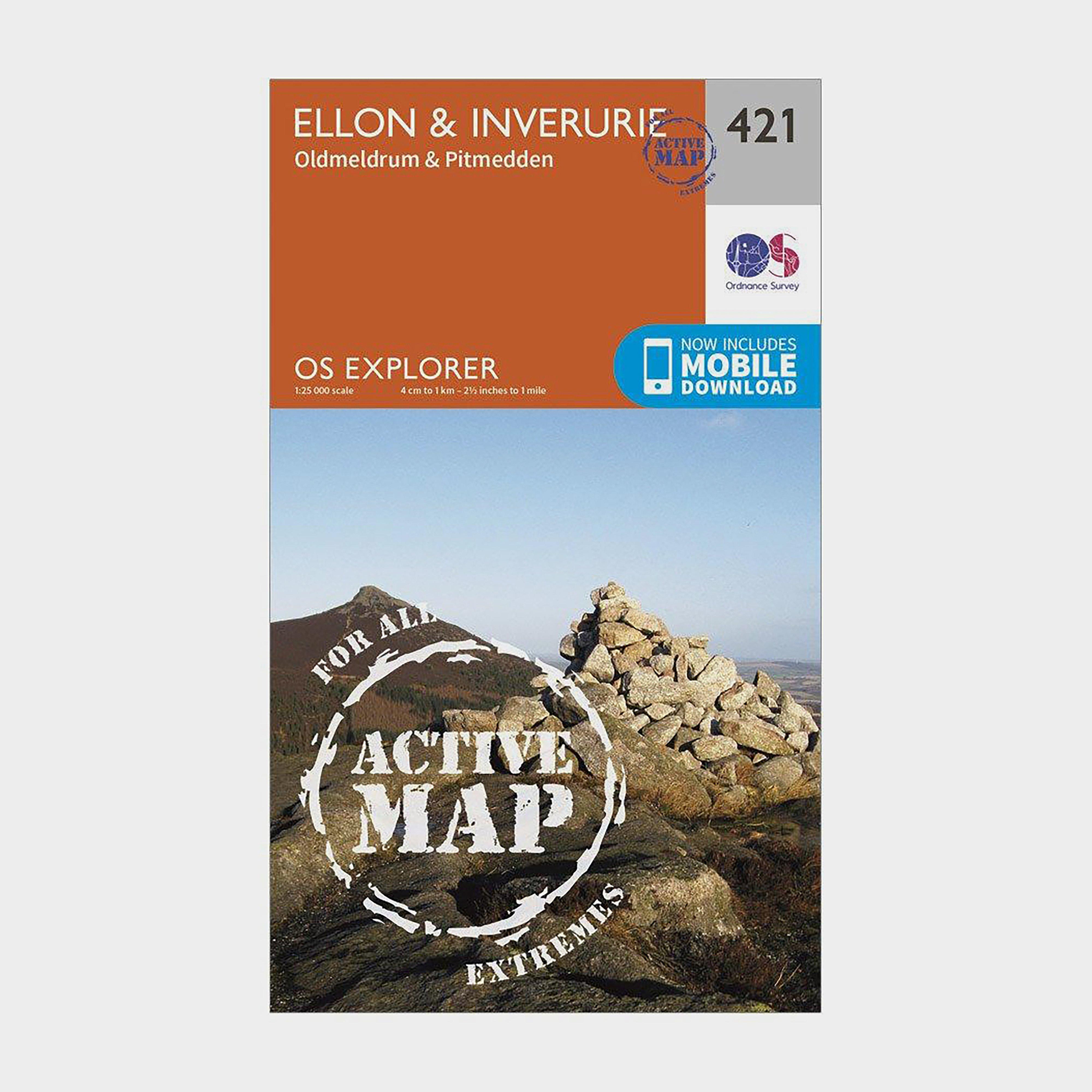 Ordnance Survey Explorer Active 421 EllonandInverurie Map With Digital Version - Orange/d  Orange/d