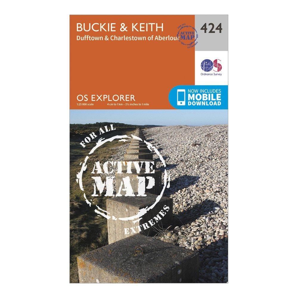 Ordnance Survey Explorer Active 424 BuckieandKeith Map With Digital Version - Orange/orange  Orange/orange