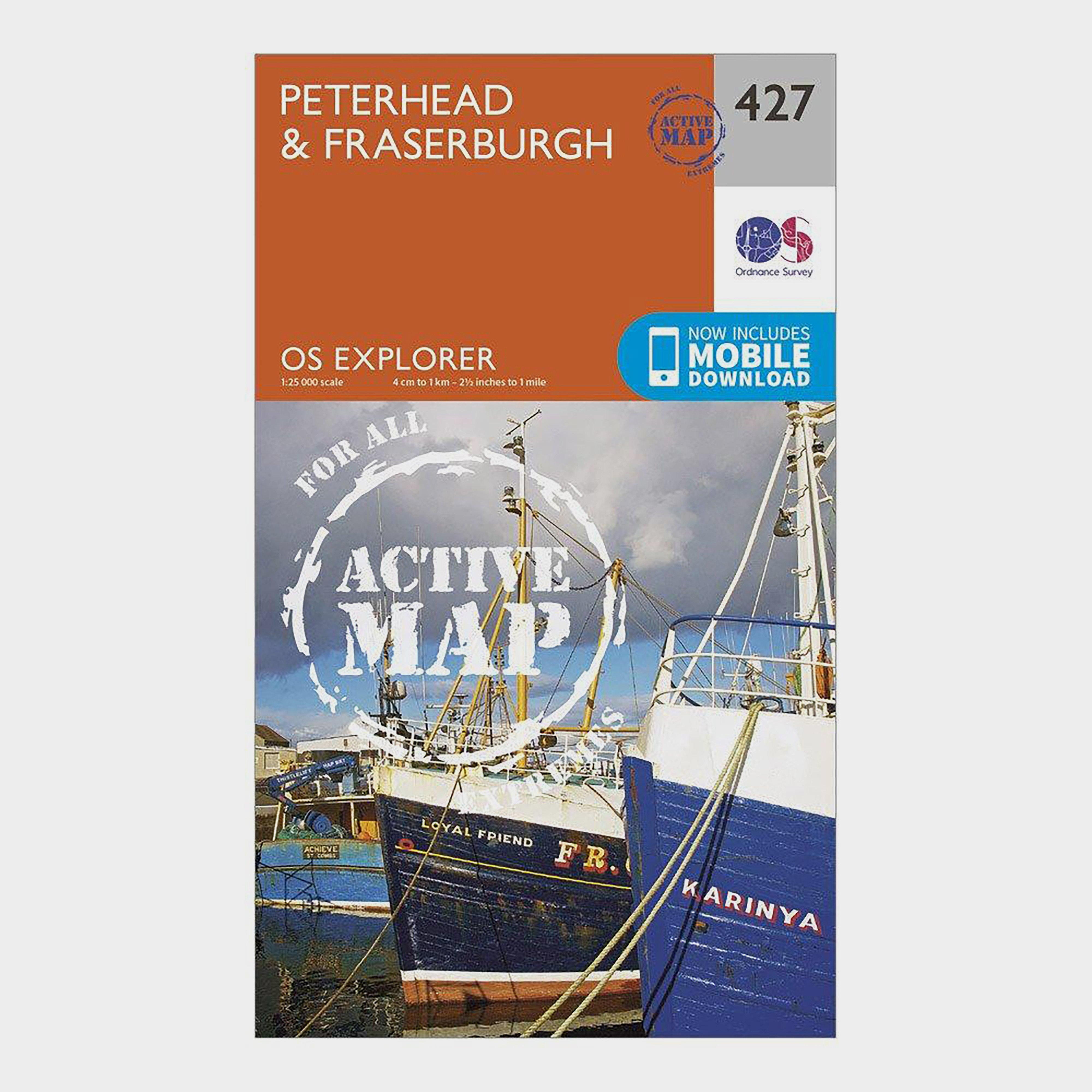 Ordnance Survey Explorer Active 427 PeterheadandFraserburgh Map With Digital Version - Orange/d  Orange/d