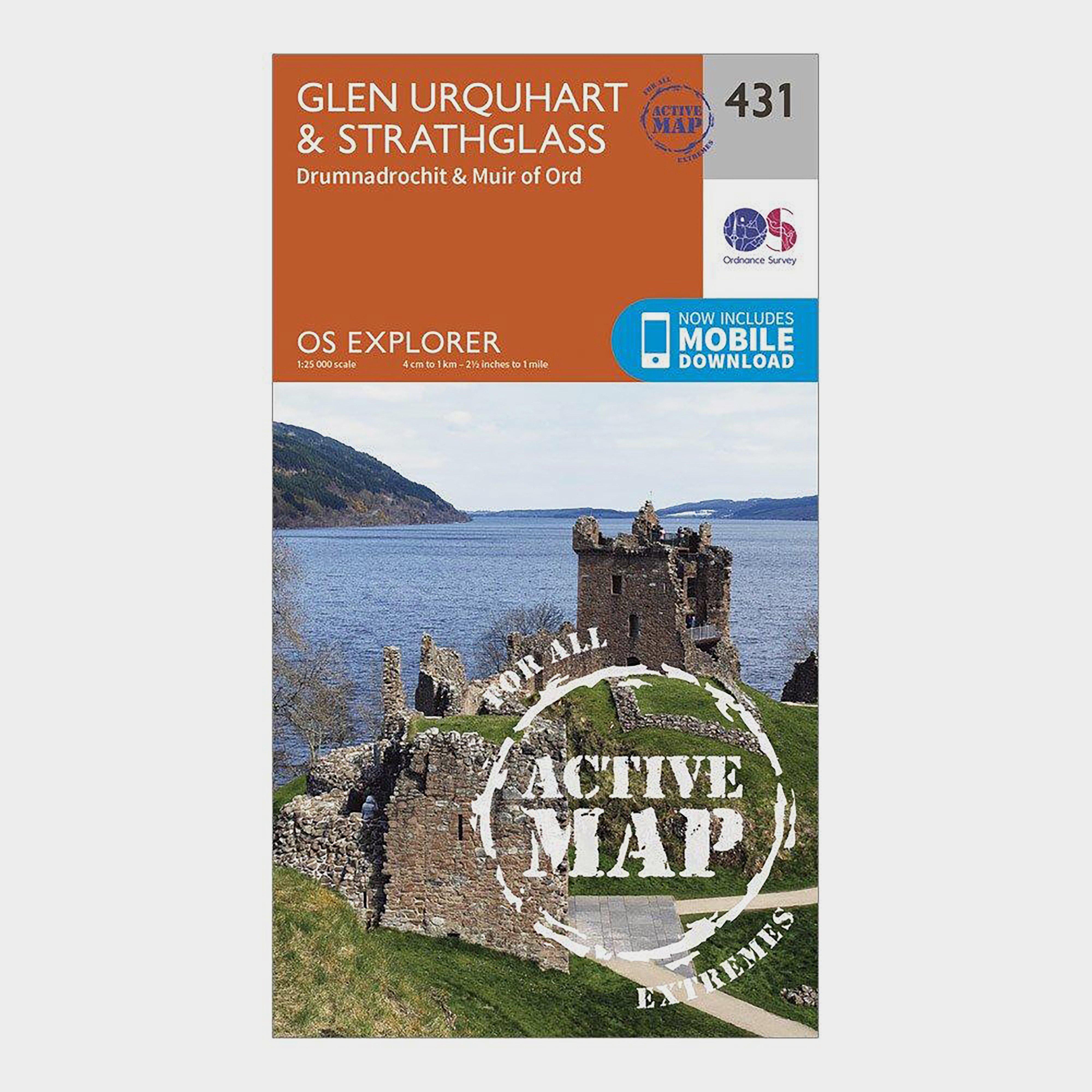 Ordnance Survey Explorer Active 431 Glen UrquhartandStrathglass Map With Digital Version - Orange/d  Orange/d