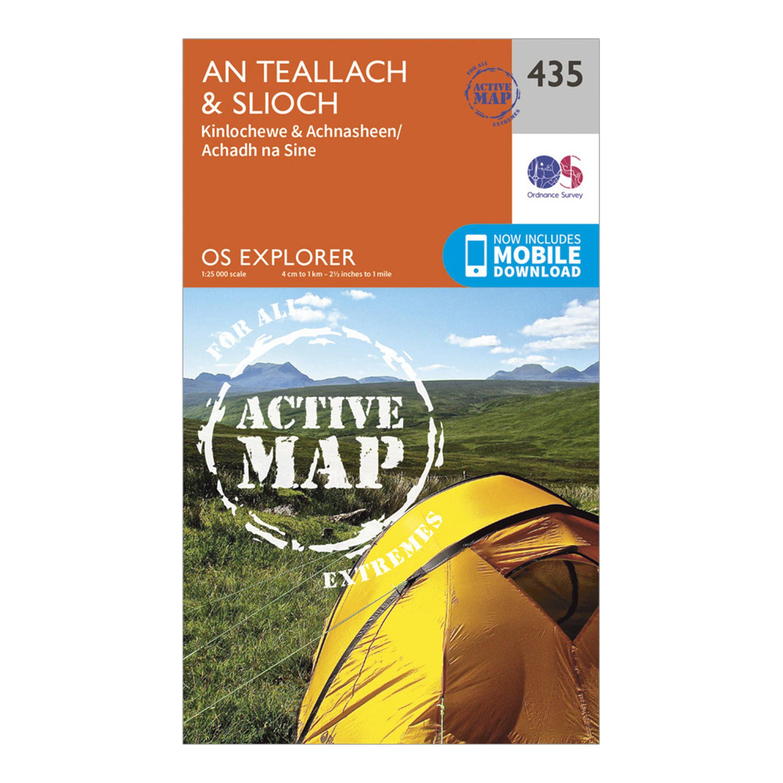 Ordnance Survey Explorer Active 435 An TeallachandSlioch Map With Digital Version - Orange/d  Orange/d