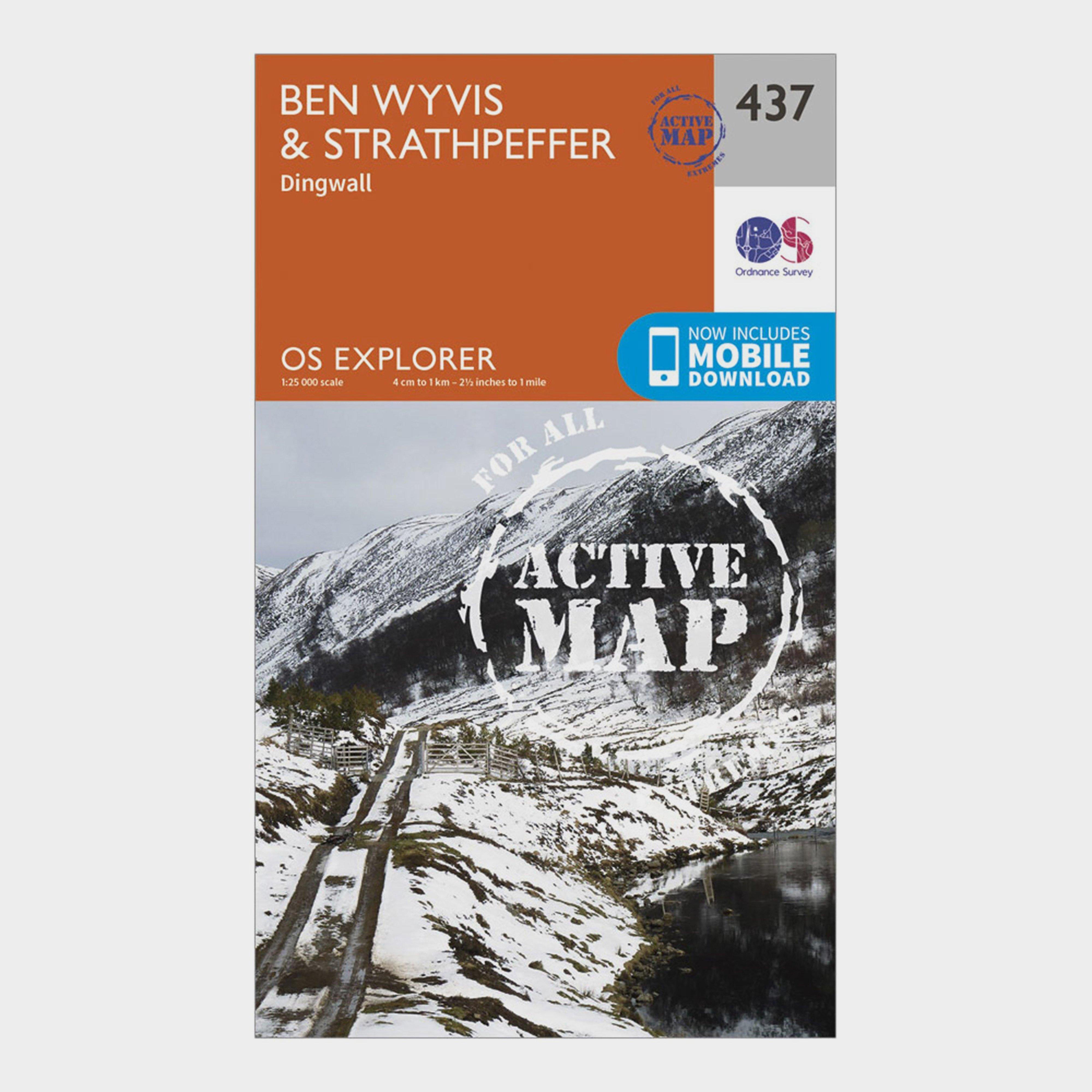 Ordnance Survey Explorer Active 437 Ben WyvisandStrathpeffer Map With Digital Version - Orange/d  Orange/d