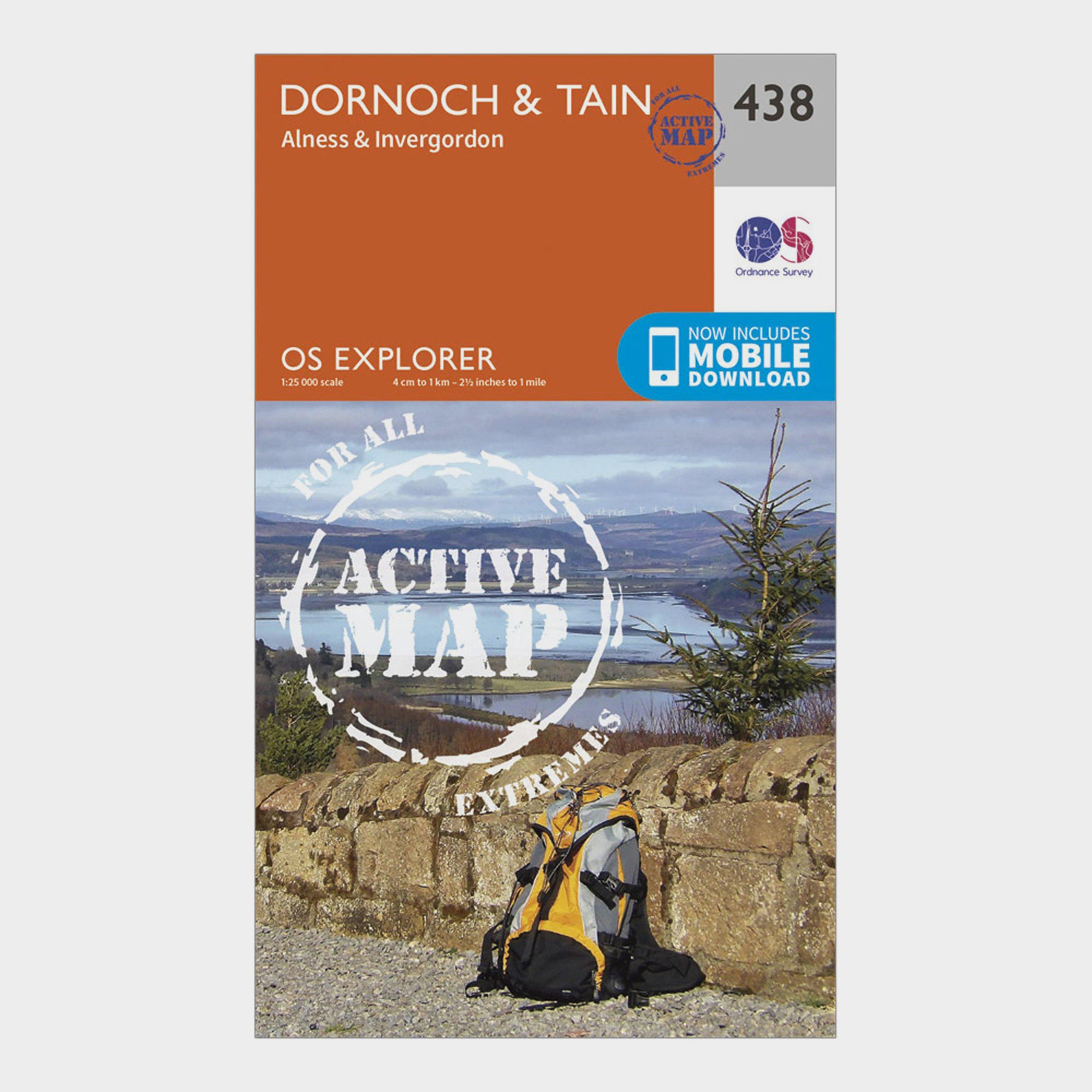 Ordnance Survey Explorer Active 483 DornochandTain Map With Digital Version - Orange/d  Orange/d