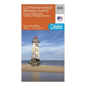 ORDNANCE SURVEY Explorer 265 Clwydian Range, Prestatyn, Mold & Ruthin Map With Digital Version