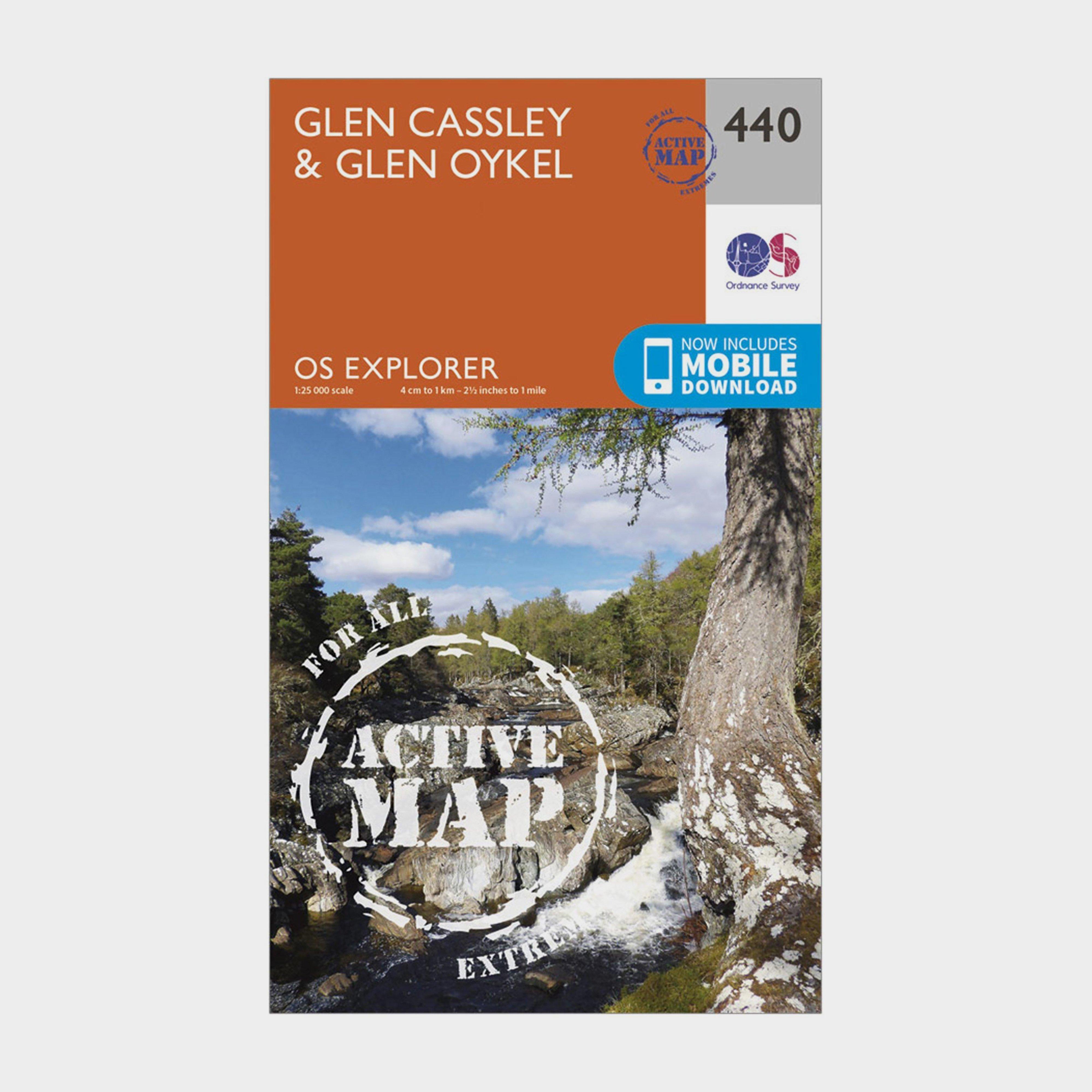 Ordnance Survey Explorer Active 440 Glen CassleyandGlen Oykel Map With Digital Version - Orange/d  Orange/d