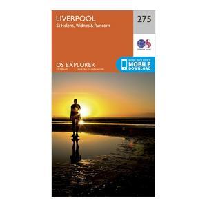 ORDNANCE SURVEY Explorer 275 Liverpool, St Helens, Widnes & Runcorn Map With Digital Version