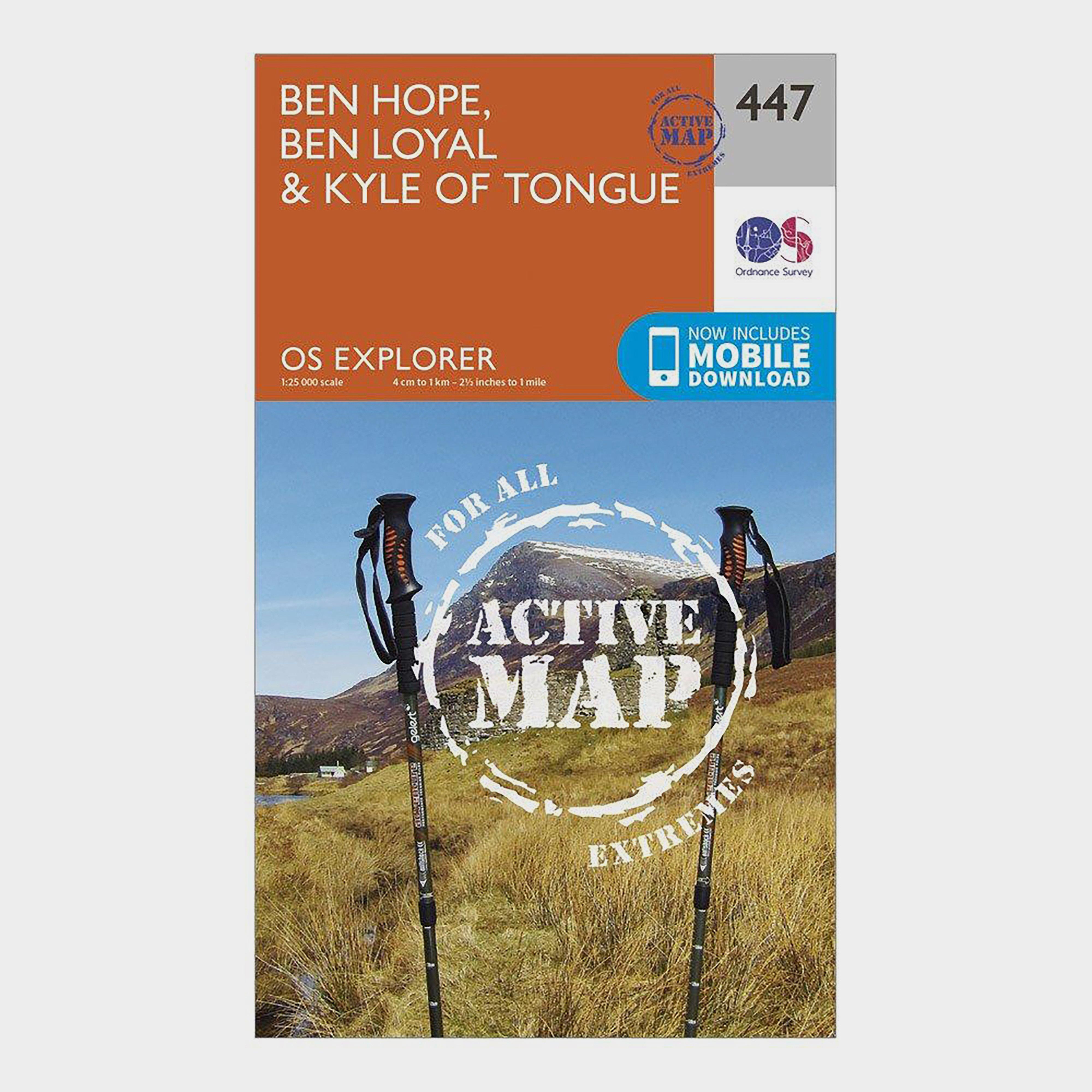 Ordnance Survey Explorer Active 447 Ben Hope  Ben LoyalandKyle Of Tongue Map With Digital Version - Orange/d  Orange/d