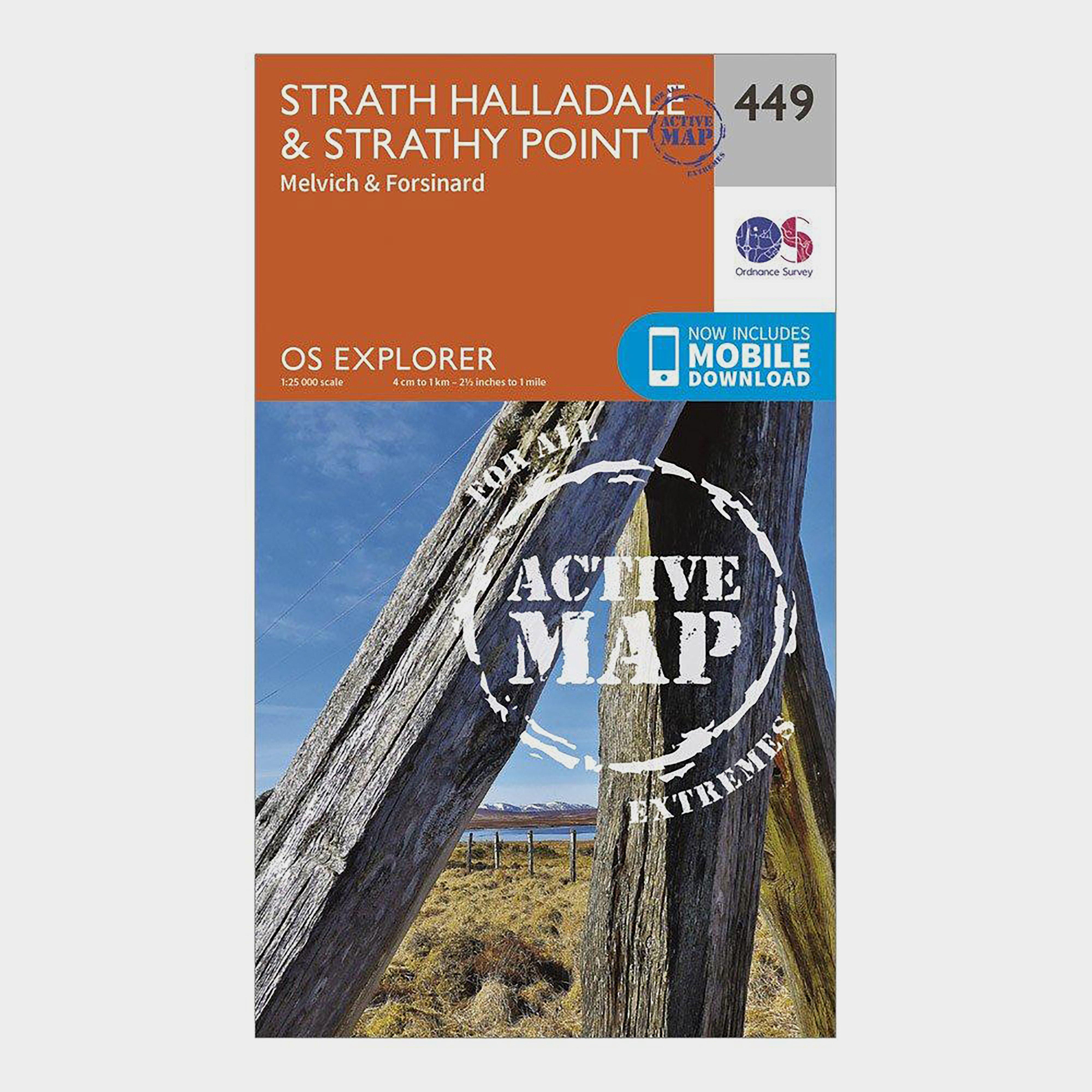 Ordnance Survey Explorer Active 449 Strath HalladaleandStrathy Point Map With Digital Version - Orange/d  Orange/d