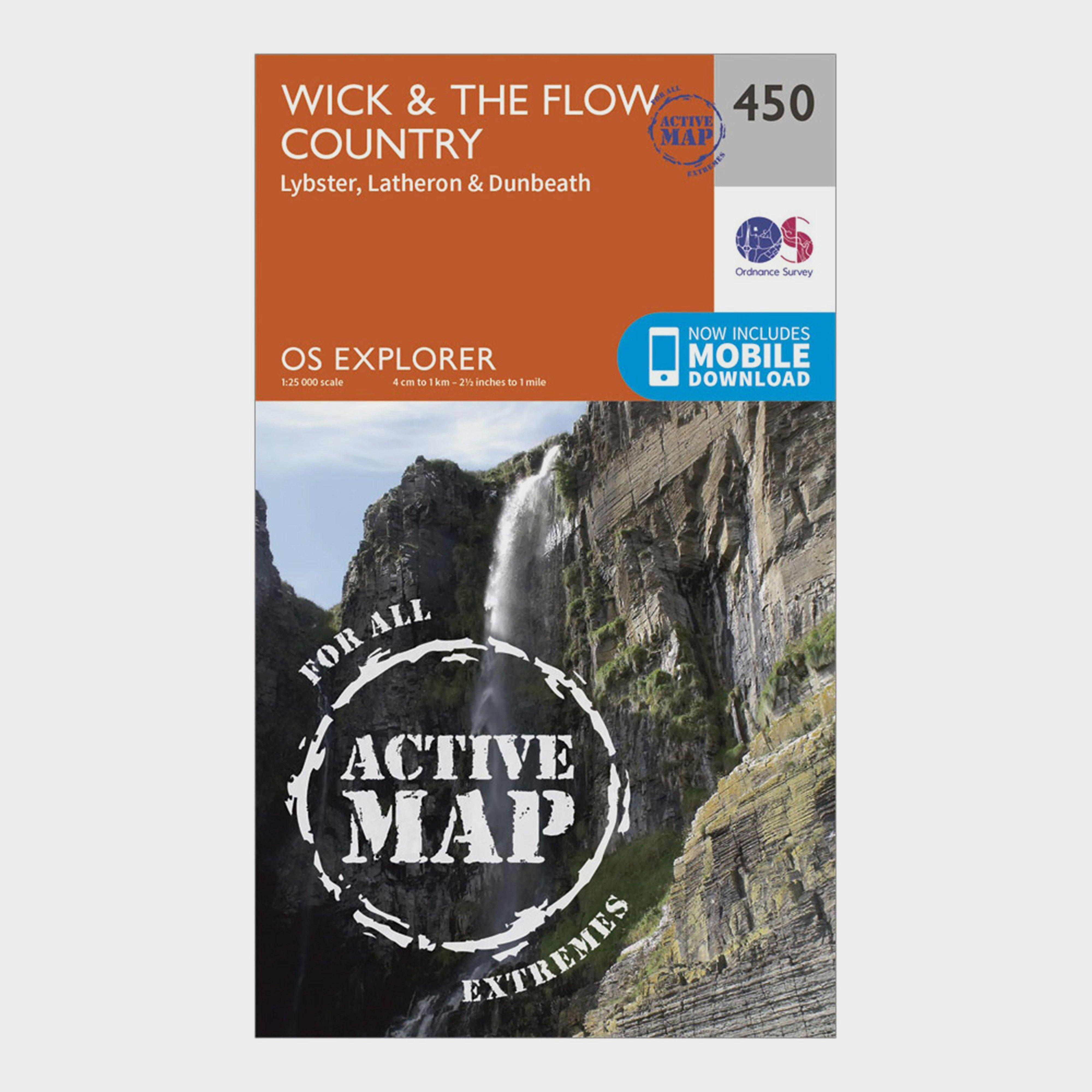 Ordnance Survey Explorer Active 450 WickandThe Flow Country Map With Digital Version - Orange/d  Orange/d