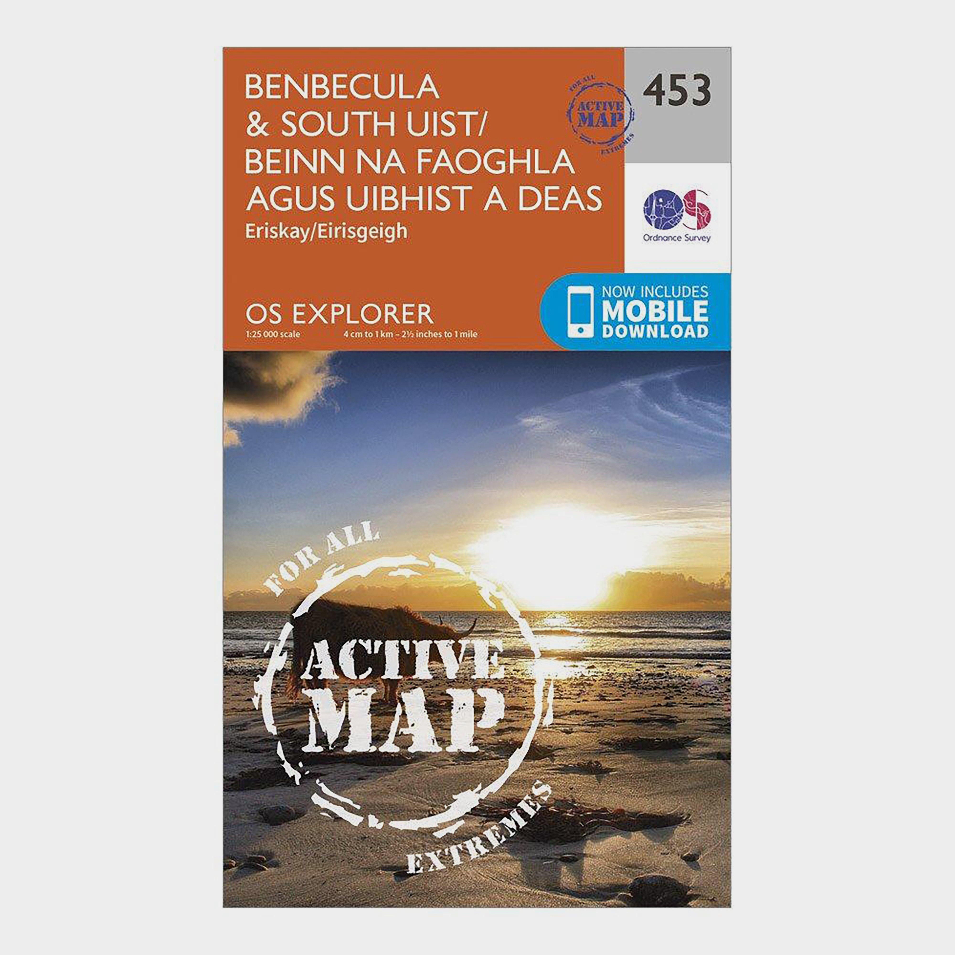 Ordnance Survey Explorer Active 453 BenbeculaandSouth Uist Map With Digital Version - Orange/d  Orange/d