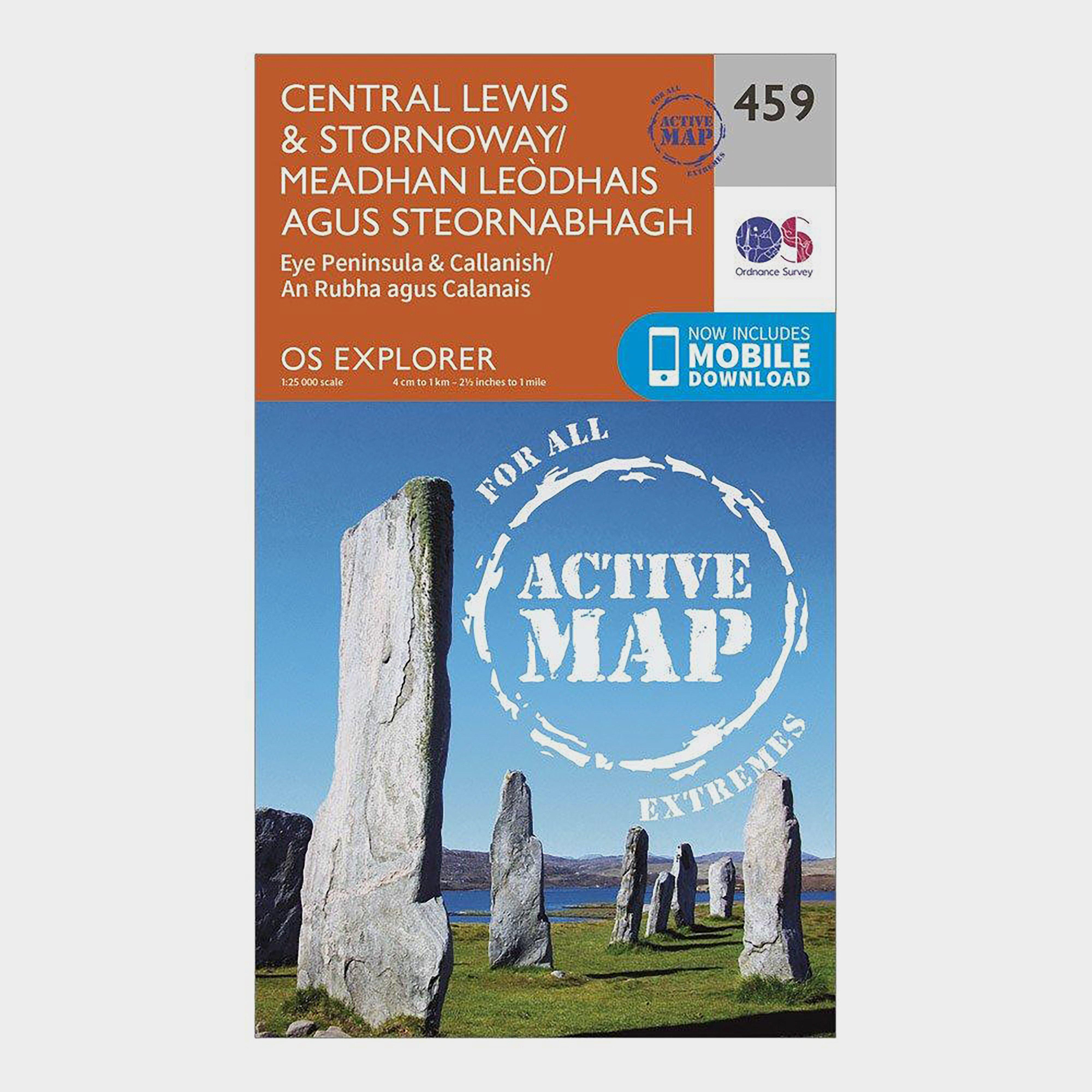 Ordnance Survey Explorer Active 459 Central LewisandStornaway Map With Digital Version - Orange/d  Orange/d