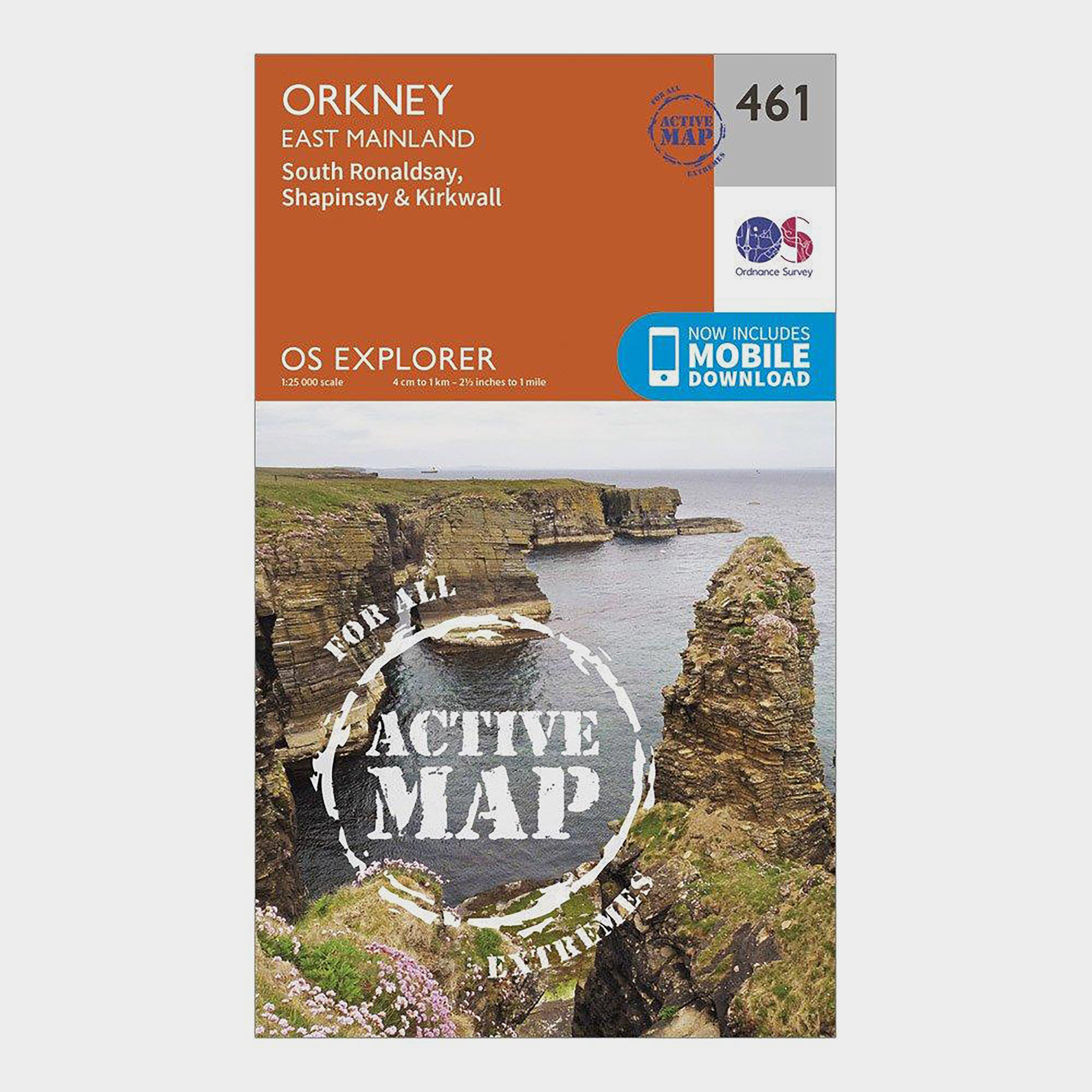 Ordnance Survey Explorer Active 461 Orkney - East Mainland Map With Digital Version - Orange/orange  Orange/orange