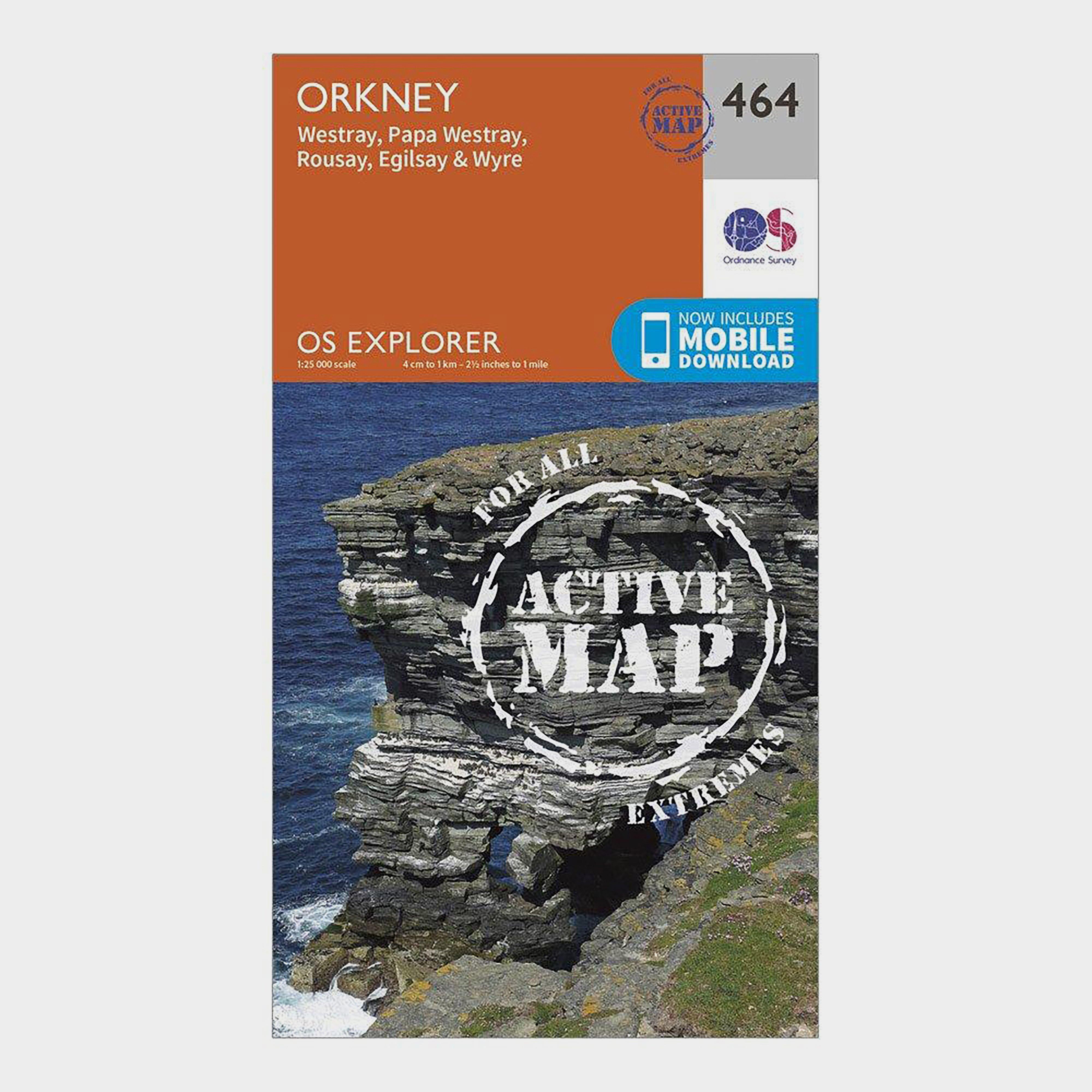 Ordnance Survey Explorer Active 464 Orkney - Westray  Papa Westray  Rousay  EgilsayandWyre Map With Digital Version - Orange/d  Orange/d