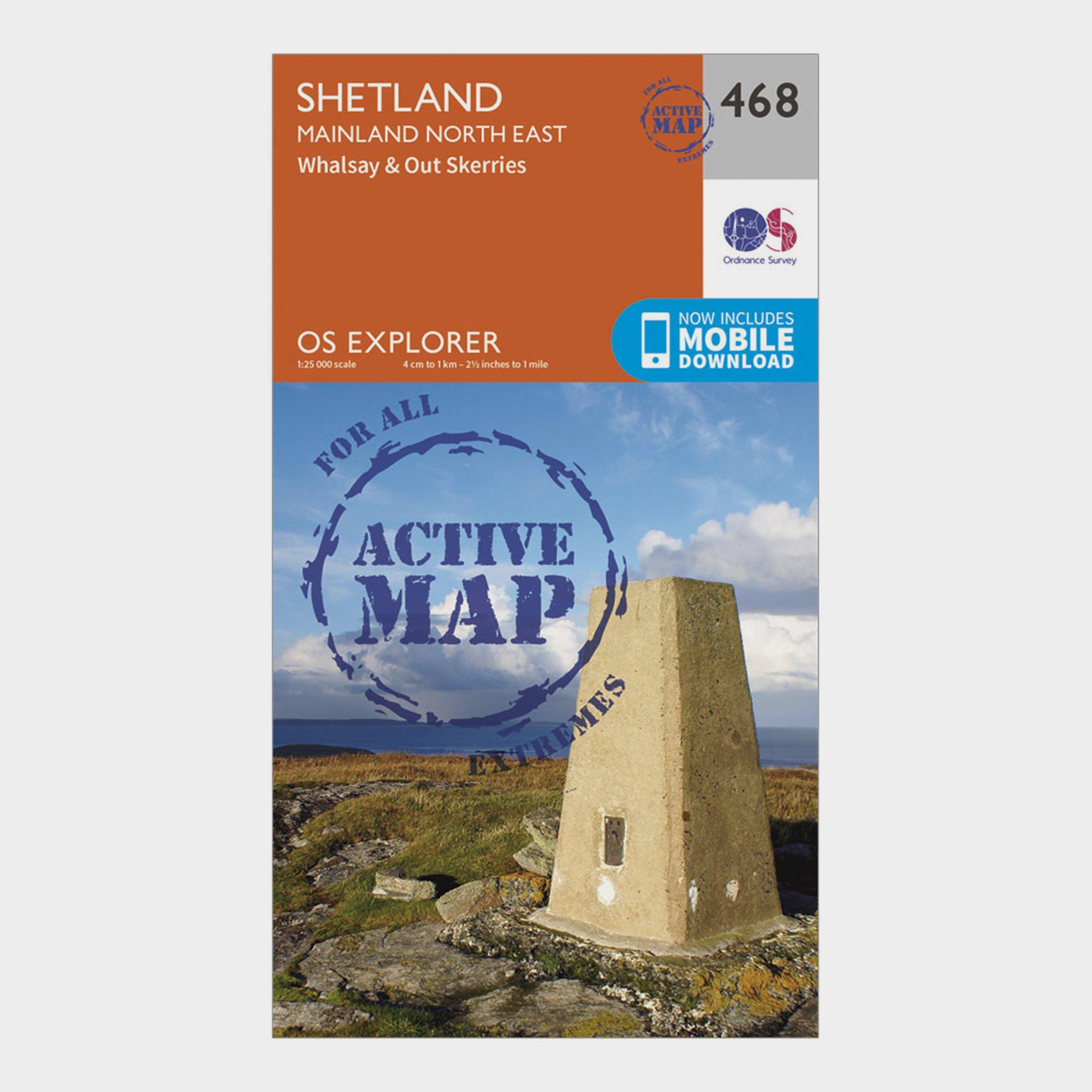 Ordnance Survey Explorer Active 468 Shetland - Mainland North East Map With Digital Version - Orange/d  Orange/d