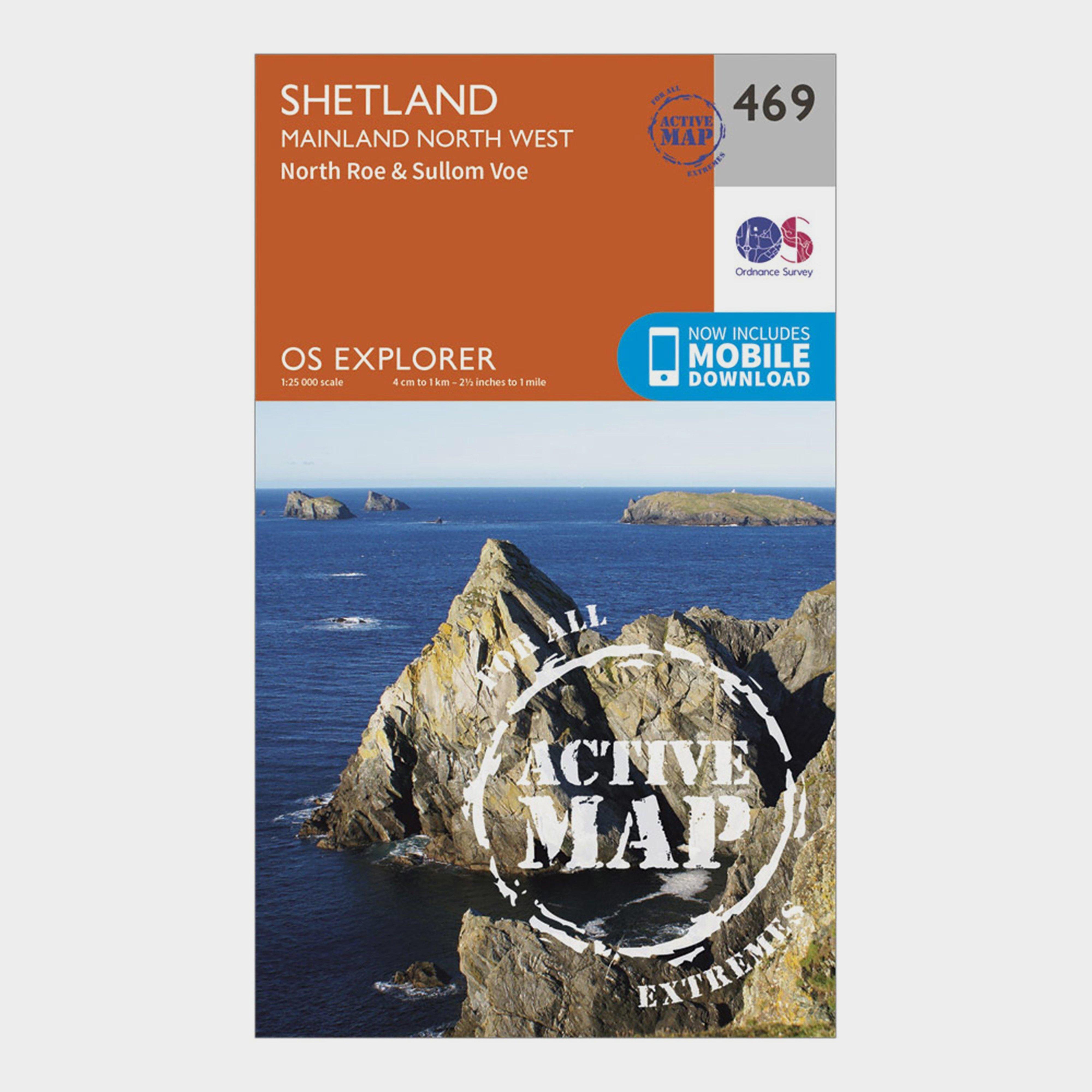 Ordnance Survey Explorer Active 469 Shetland - Mainland North West Map With Digital Version - Orange/d  Orange/d
