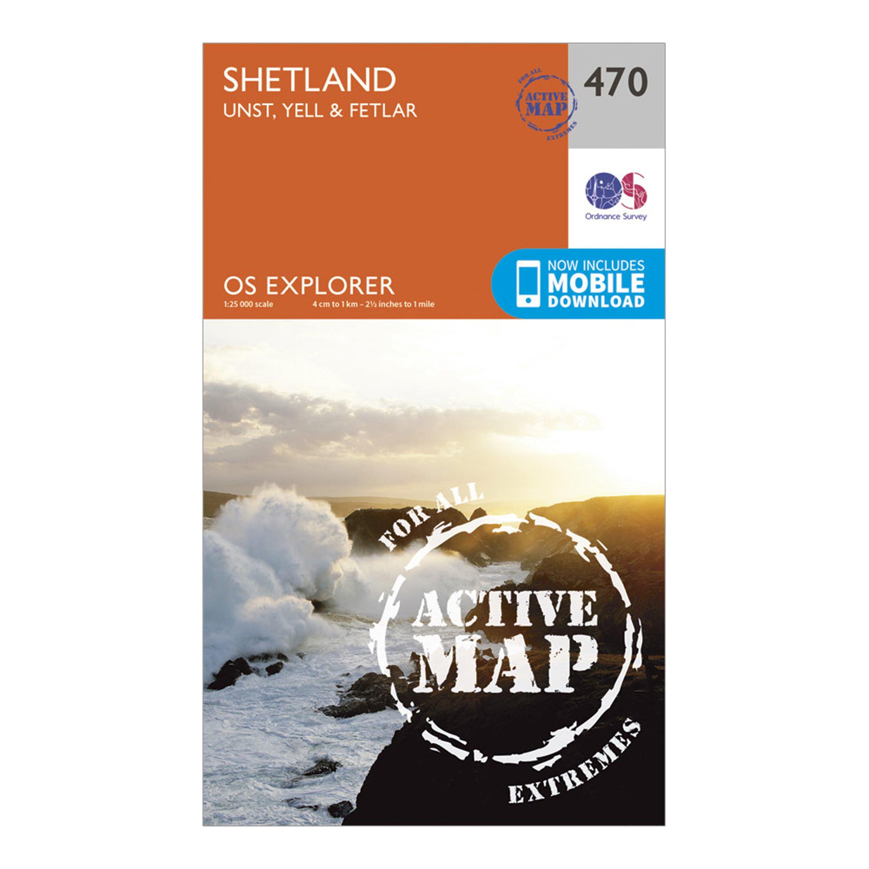 Ordnance Survey Explorer Active 470 Shetland - Unst  YellandFetlar Map With Digital Version - Orange/d  Orange/d