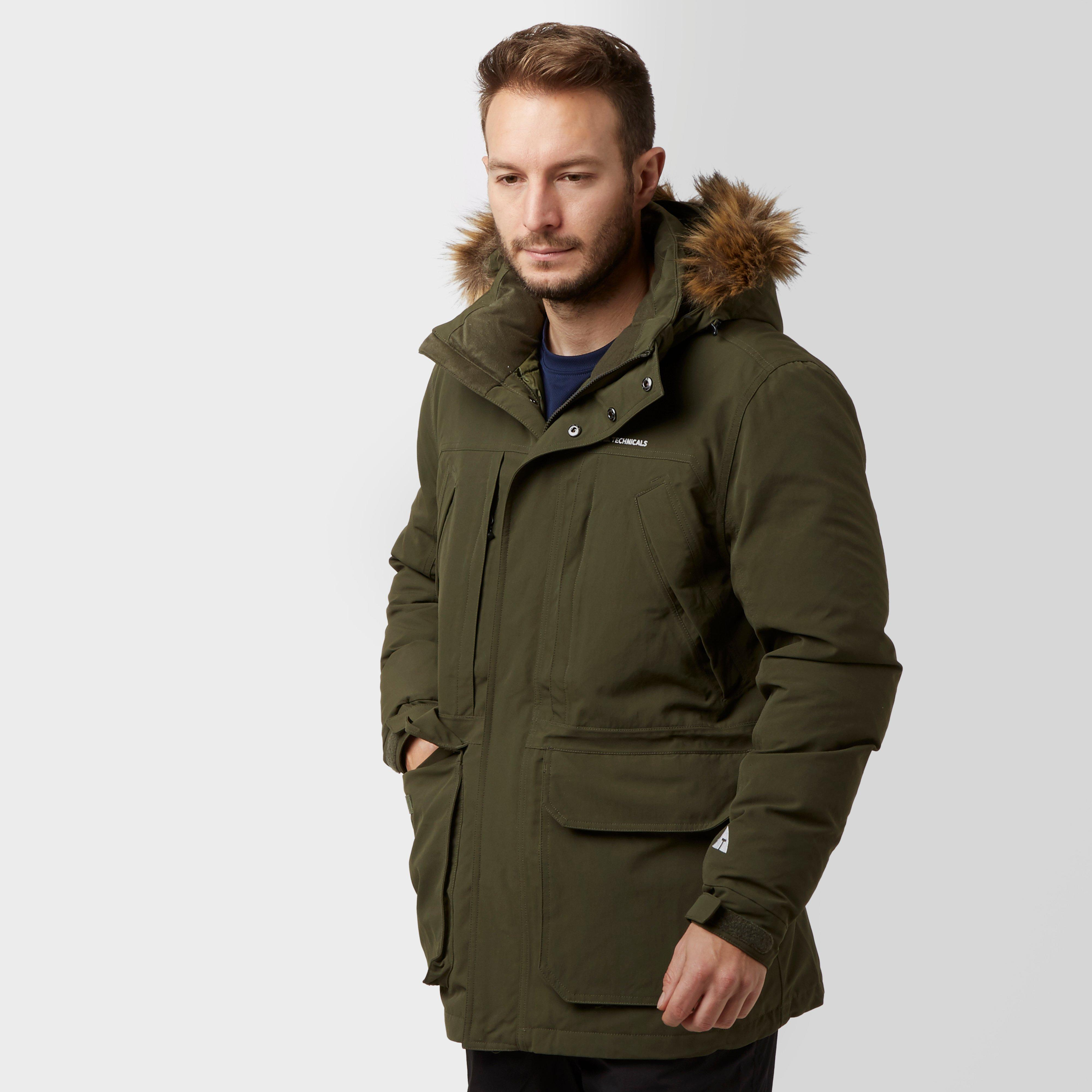Technicals Men's Down Parka - Green, Green | Bear Grylls UK | £90.00
