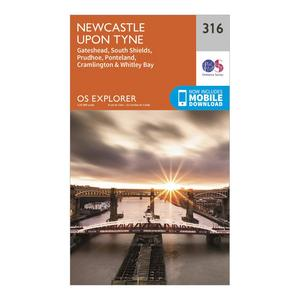 ORDNANCE SURVEY Explorer 316 Newcastle upon Tyne Map With Digital Version