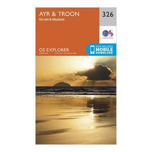 ORDNANCE SURVEY Explorer 326 Ayr & Troon Map With Digital Version