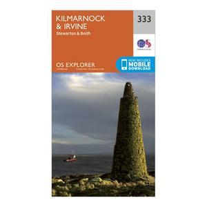 ORDNANCE SURVEY Explorer 333 Kilmarnock & Irvine Map With Digital Version