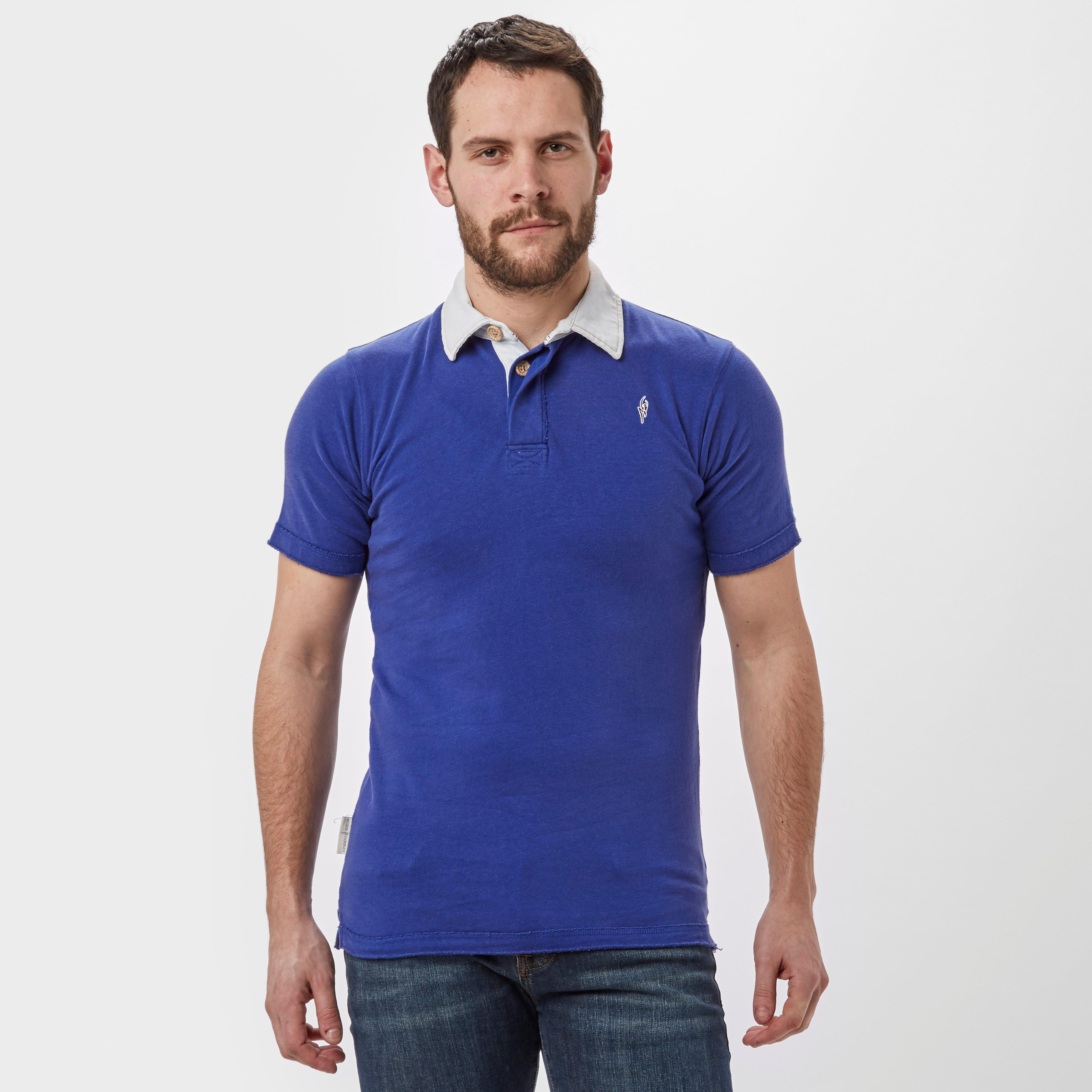 Stone Monkey Men's Hywell Rugby T-Shirt, Blue