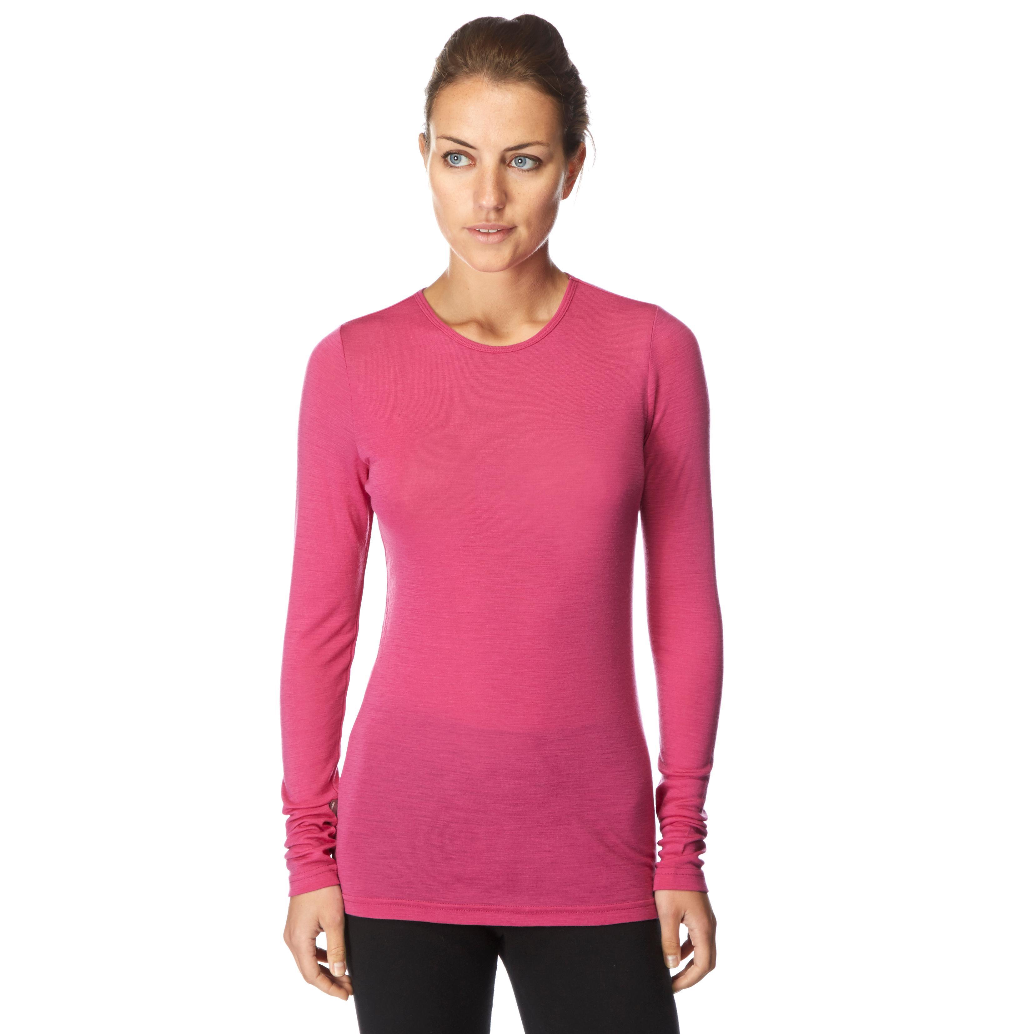 Icebreaker Womens Everyday Long Sleeve Crew Baselayer Pink