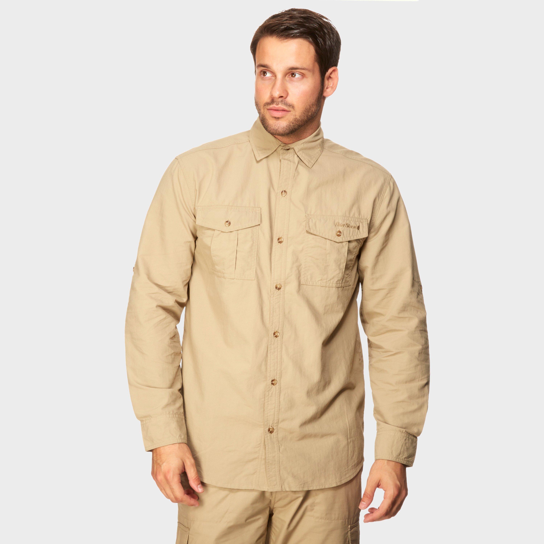 Peter Storm Mens Long Sleeve Travel Shirt - Beige/stn  Beige/stn