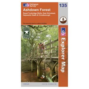 ORDNANCE SURVEY Explorer 135 Ashdown Forest Area Map