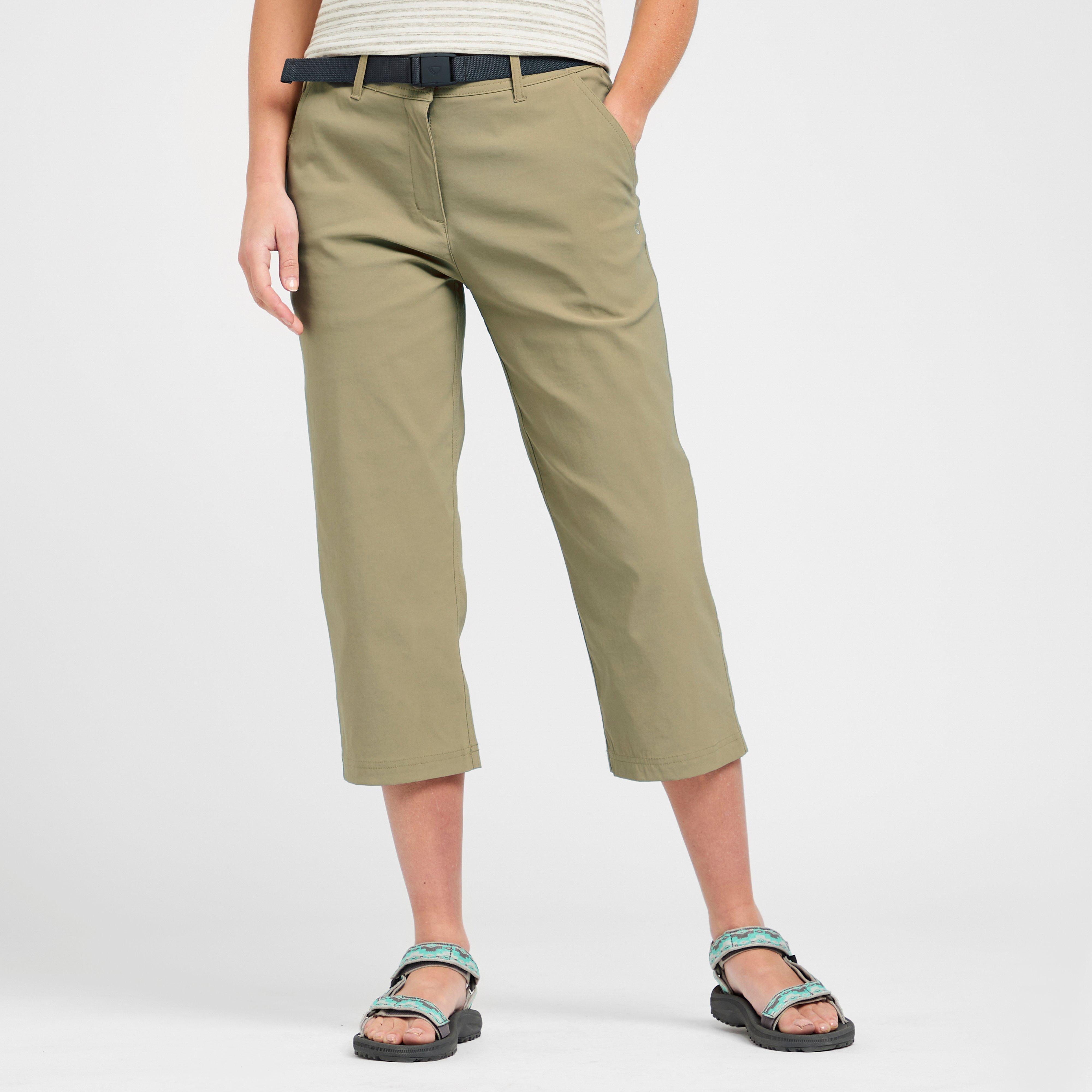 Brasher Womens Stretch Crop Trousers - Beige  Beige