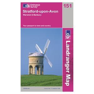 ORDNANCE SURVEY OS Landranger 151 Stratford-upon-Avon, Warwick & Banbury Map